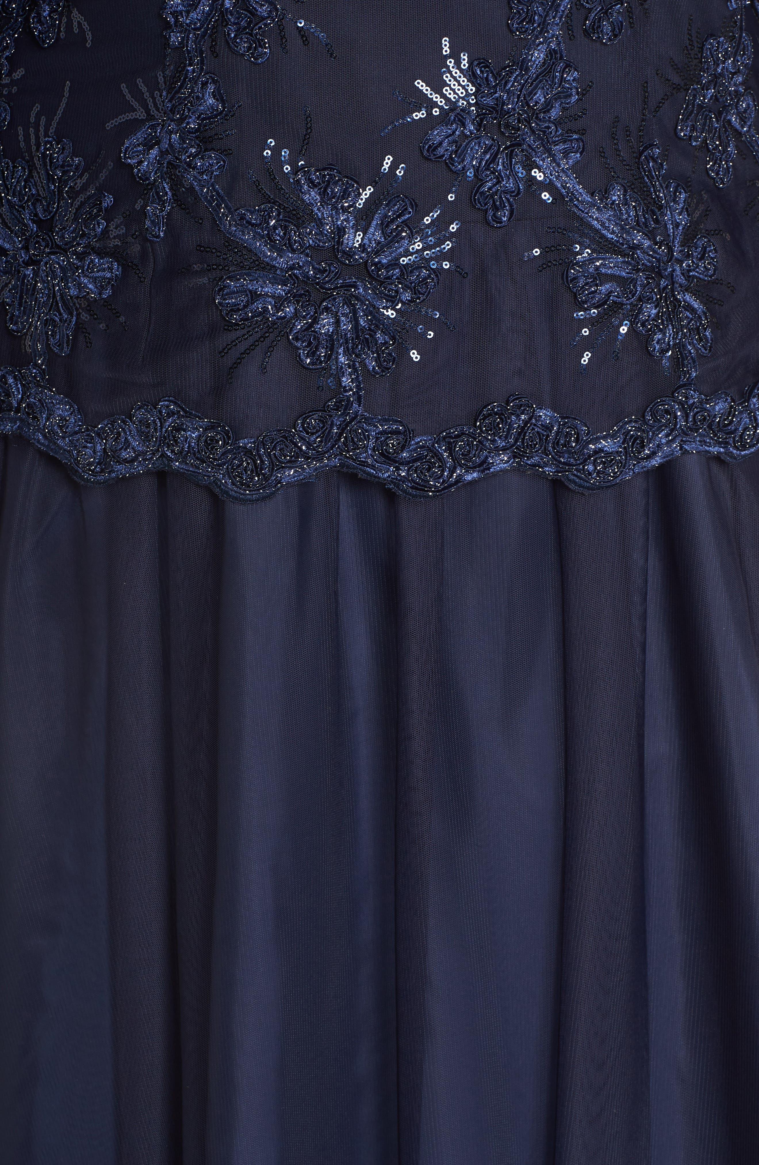 Embellished Bodice Tea Length Mesh Dress,                             Alternate thumbnail 5, color,                             Navy