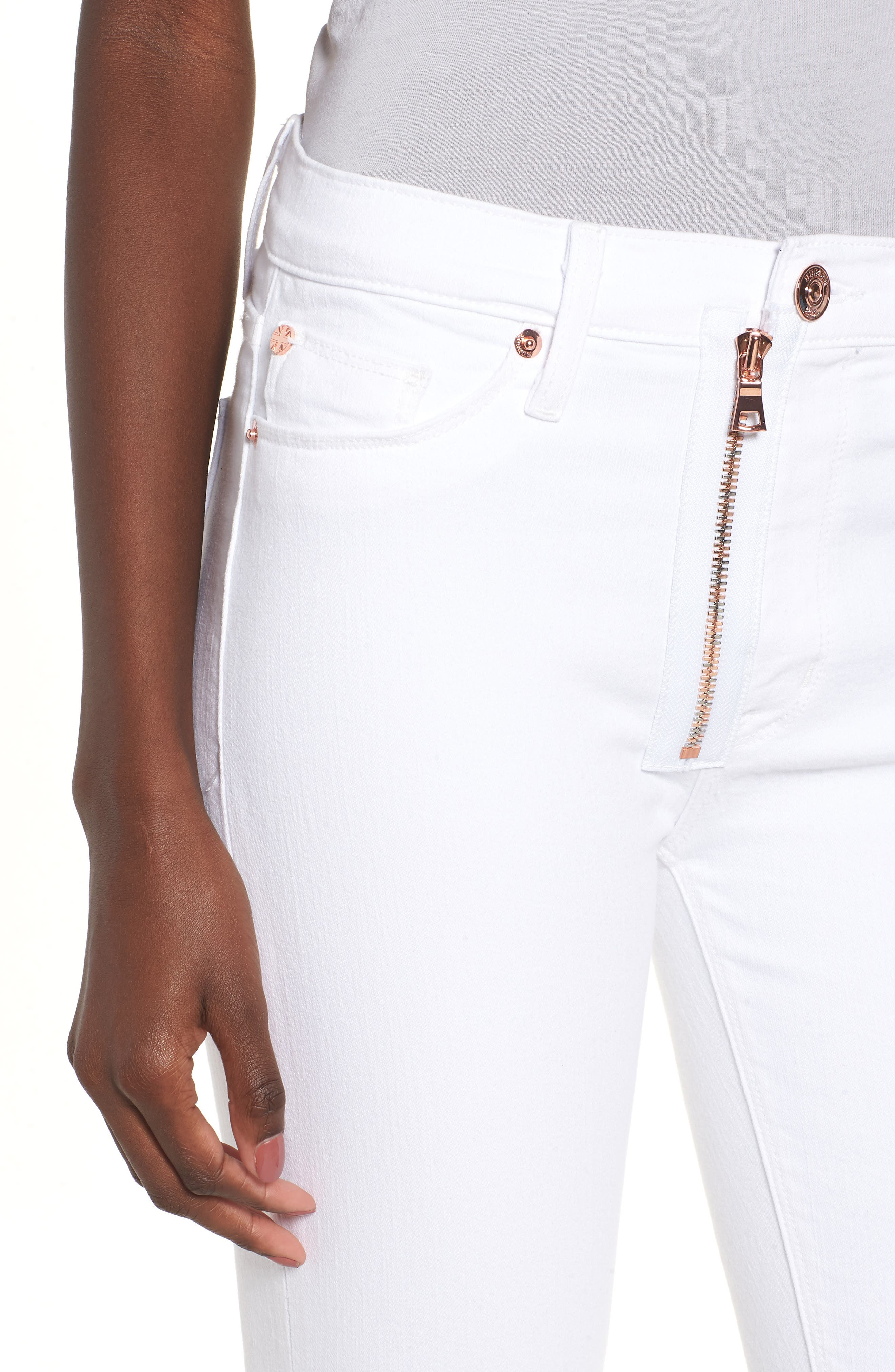 Barbara Exposed Zip High Waist Jeans,                             Alternate thumbnail 4, color,                             Optical White