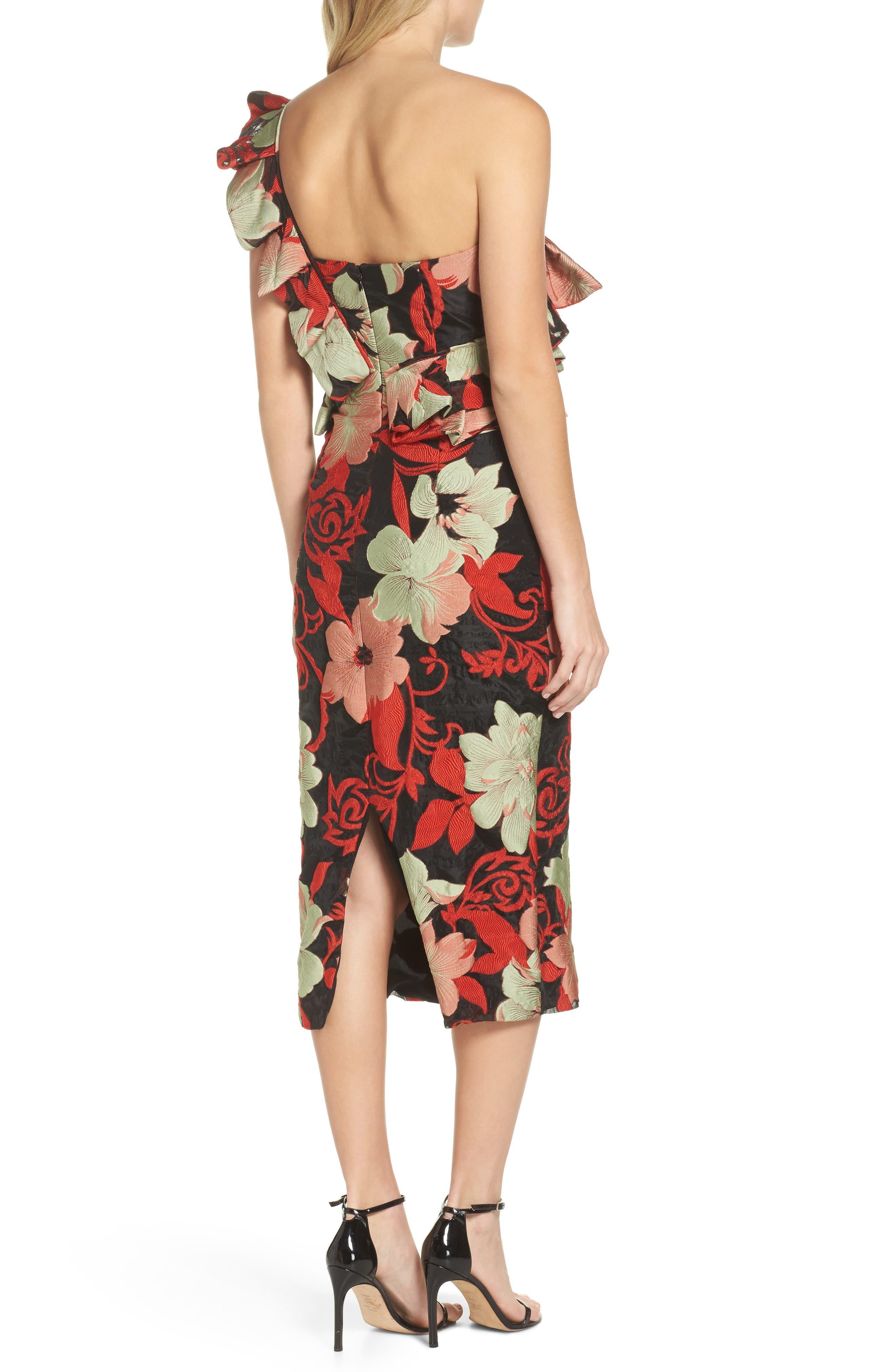 Katalina One-Shoulder Midi Dress,                             Alternate thumbnail 2, color,                             Magnolia Multi