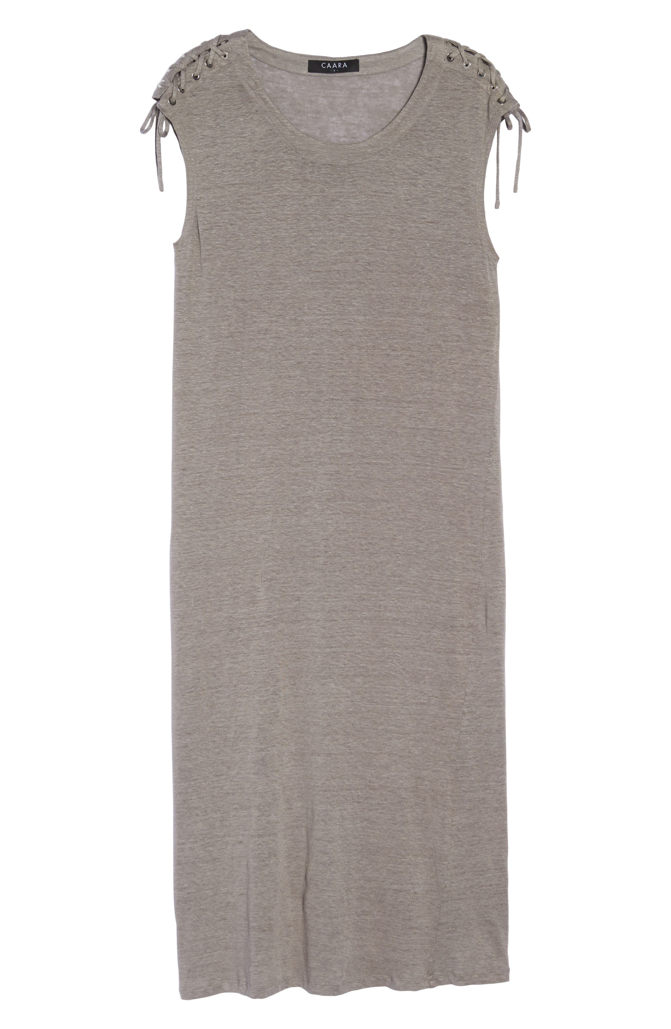 Lace-up Shoulder Jersey Midi Dress,                             Alternate thumbnail 7, color,                             Grey