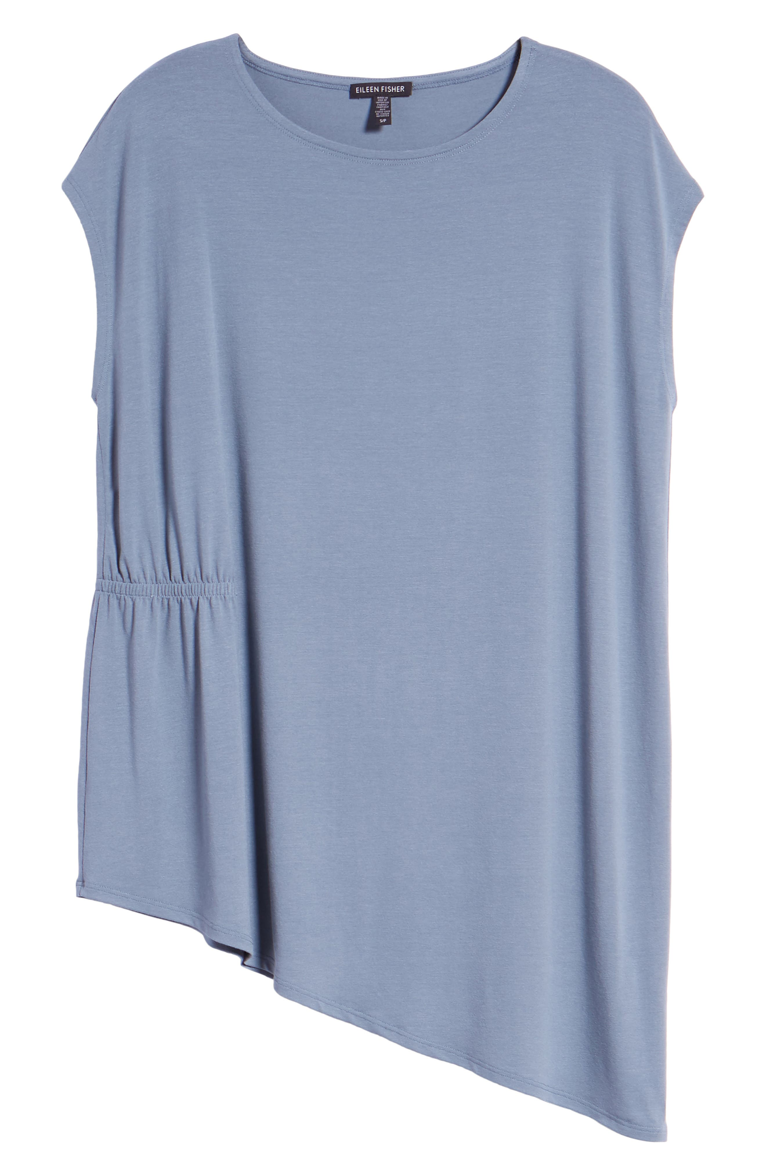 Asymmetrical Stretch Jersey Top,                             Alternate thumbnail 6, color,                             Blue Steel