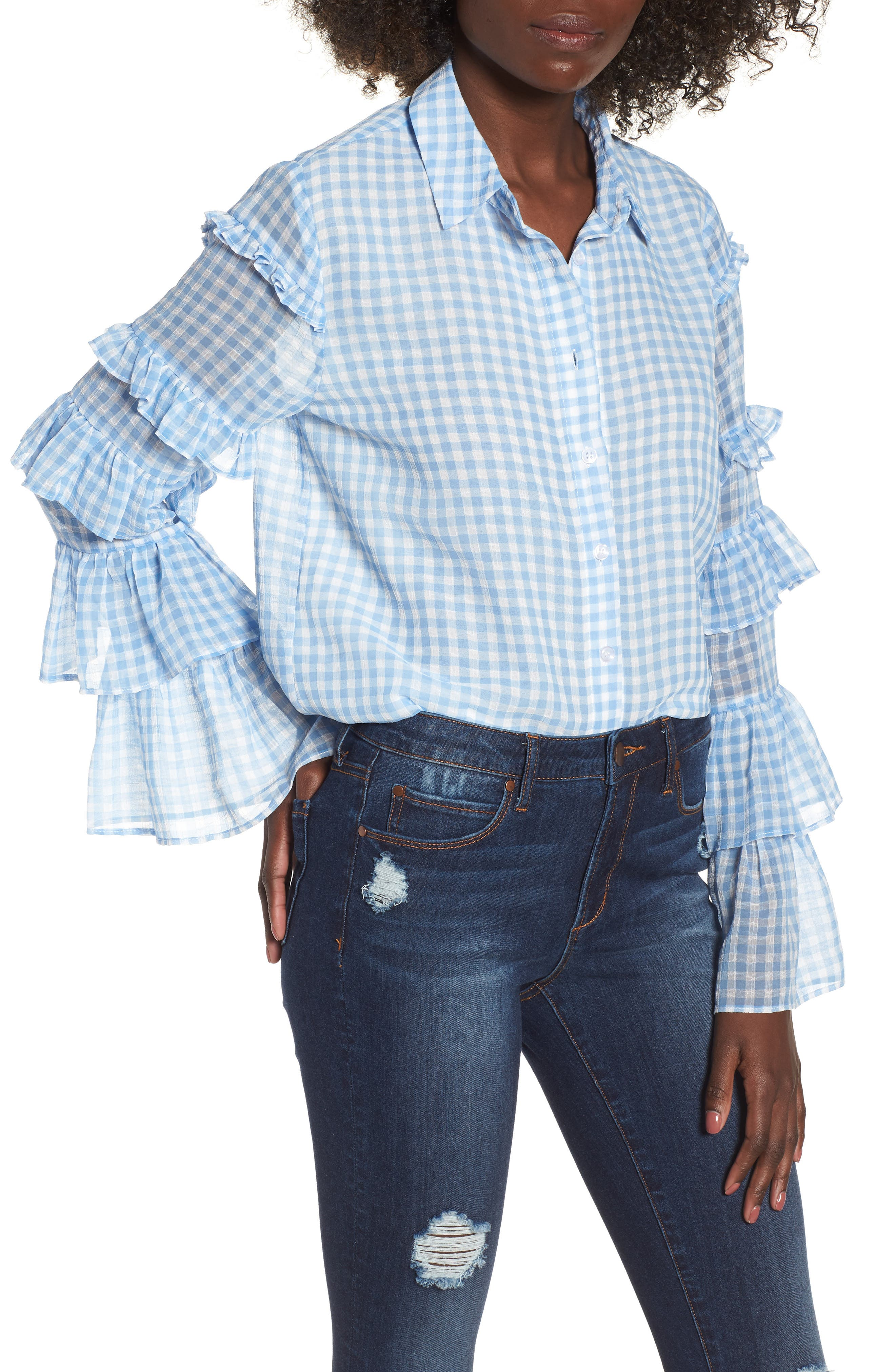 Ruffle Sleeve Shirt,                         Main,                         color, Blue