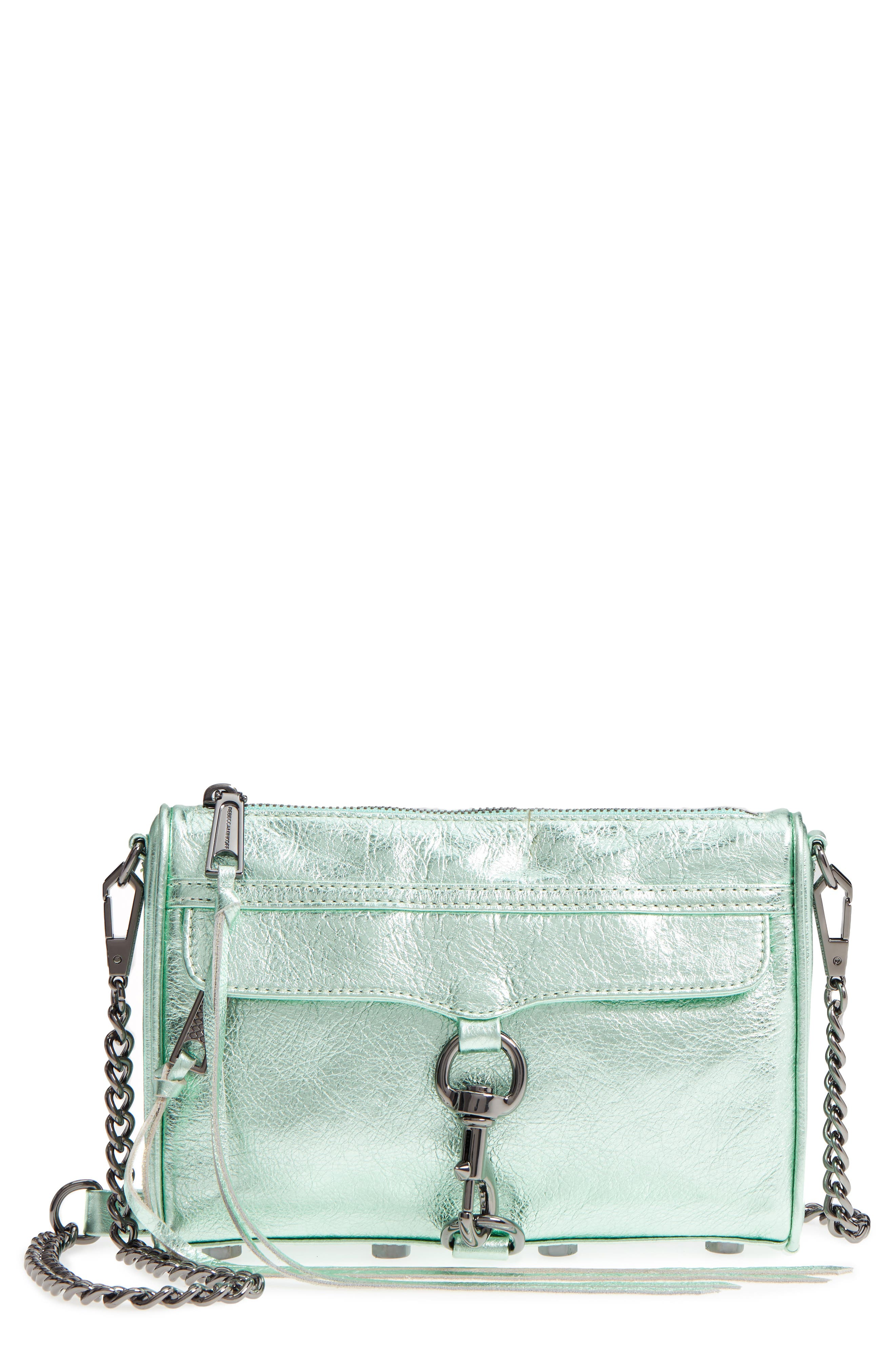 Mini MAC Metallic Leather Convertible Crossbody Bag,                             Main thumbnail 1, color,                             Mint