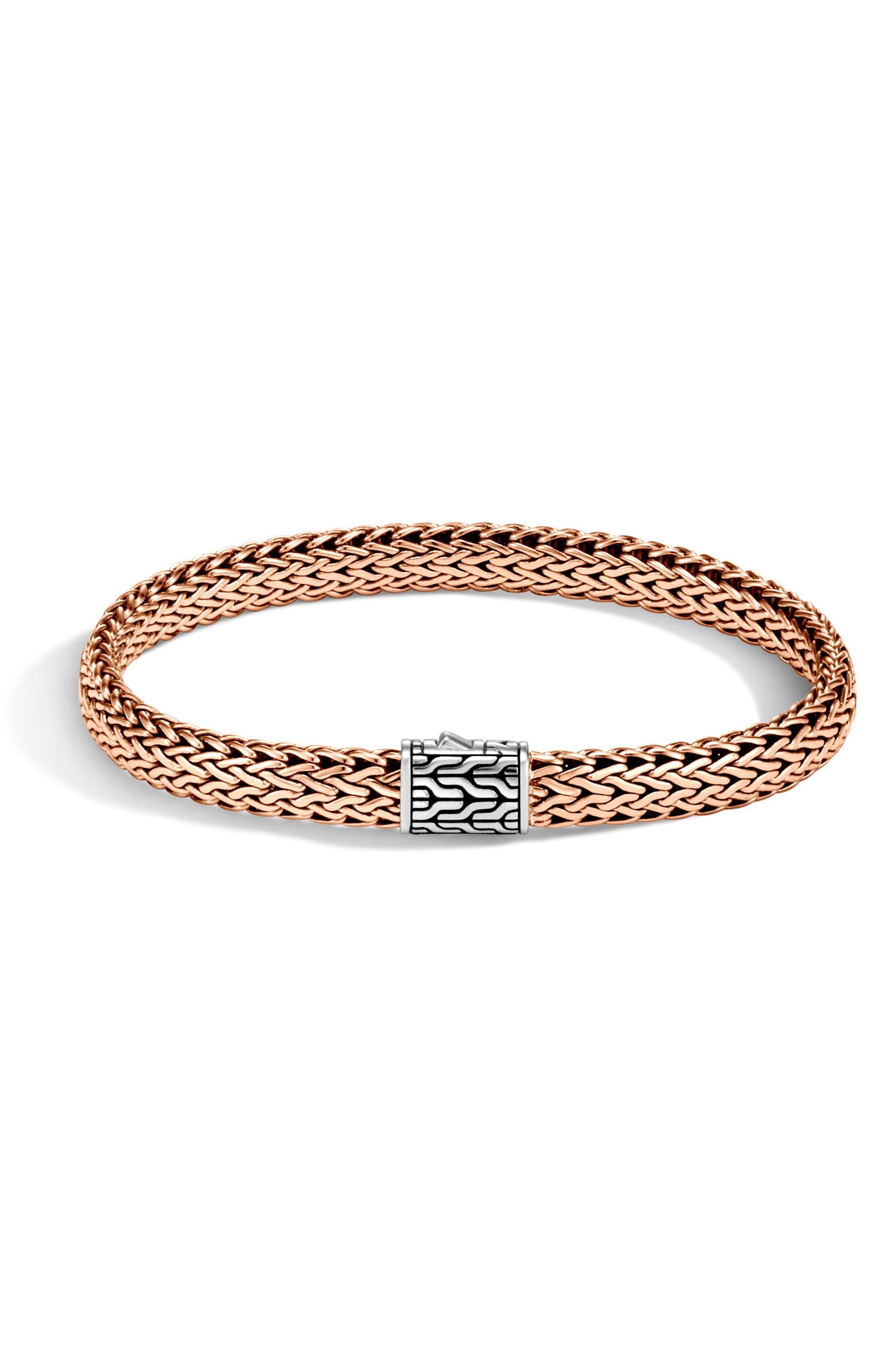 Classic Chain Medium Silver & Bronze Bracelet,                         Main,                         color, Silver/ Bronze