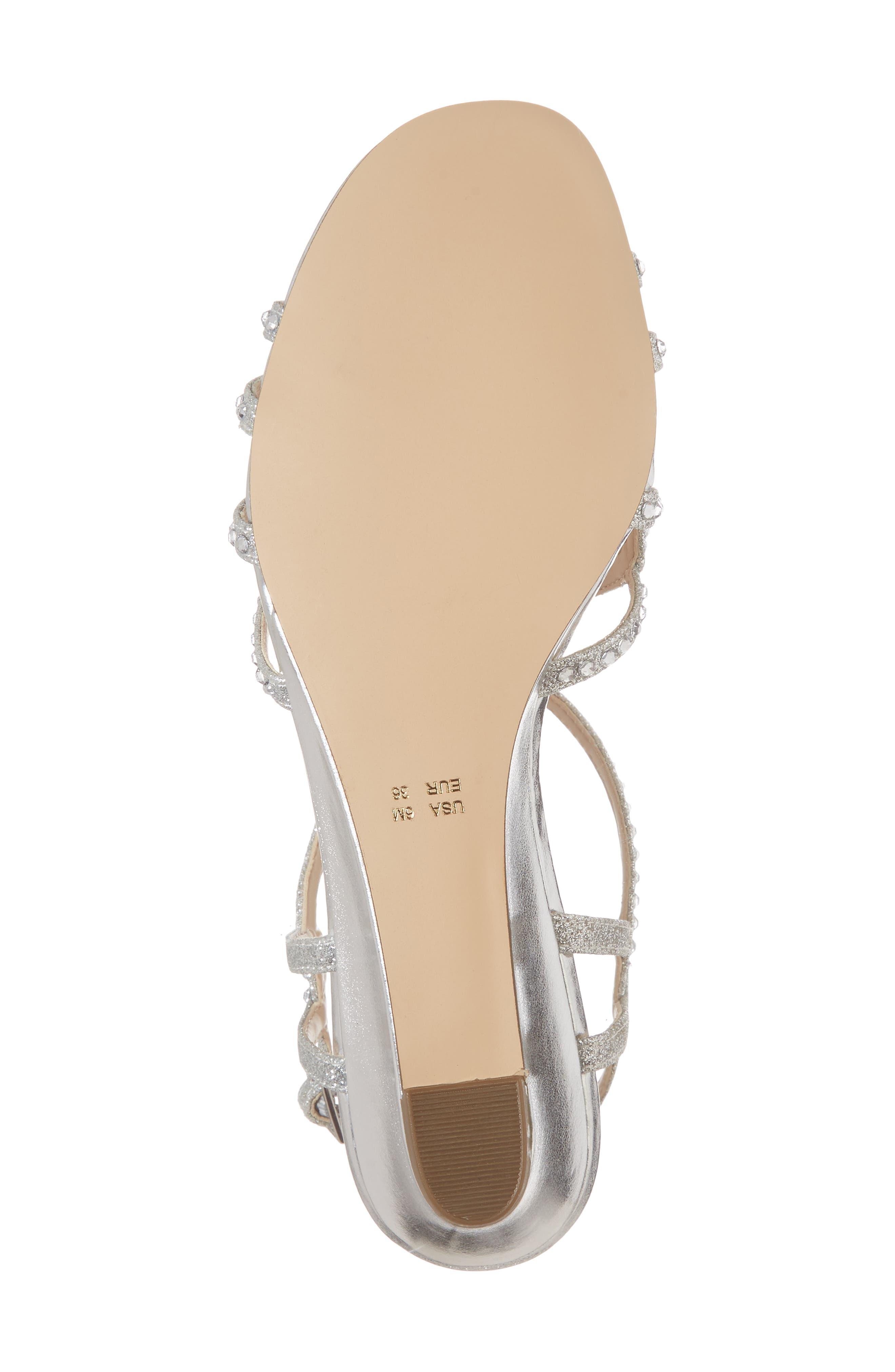 Finola Sandal,                             Alternate thumbnail 6, color,                             Silver Glitter Fabric