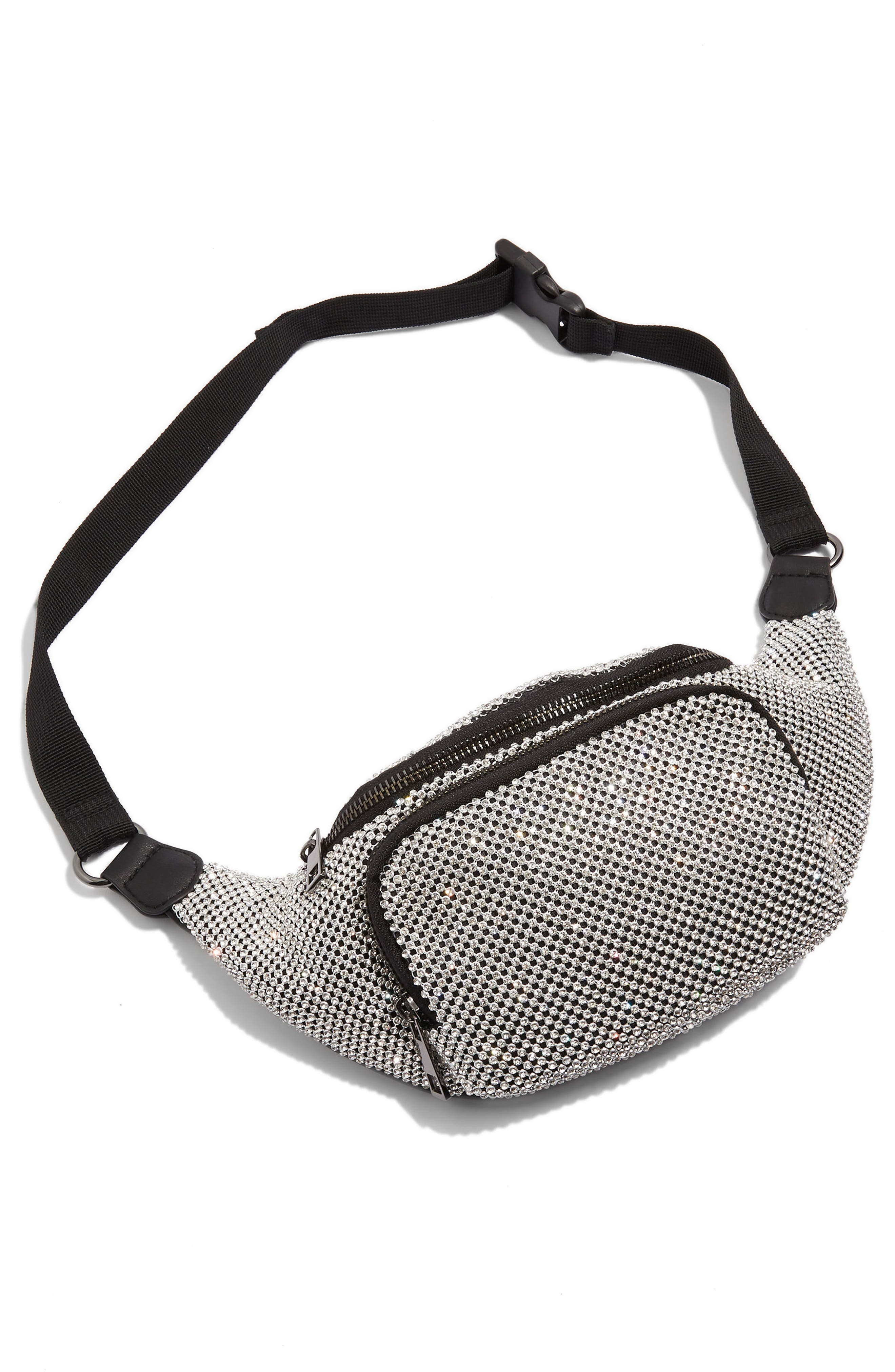 Diana Diamante Chainmail Bum Bag,                             Alternate thumbnail 4, color,                             Silver Multi