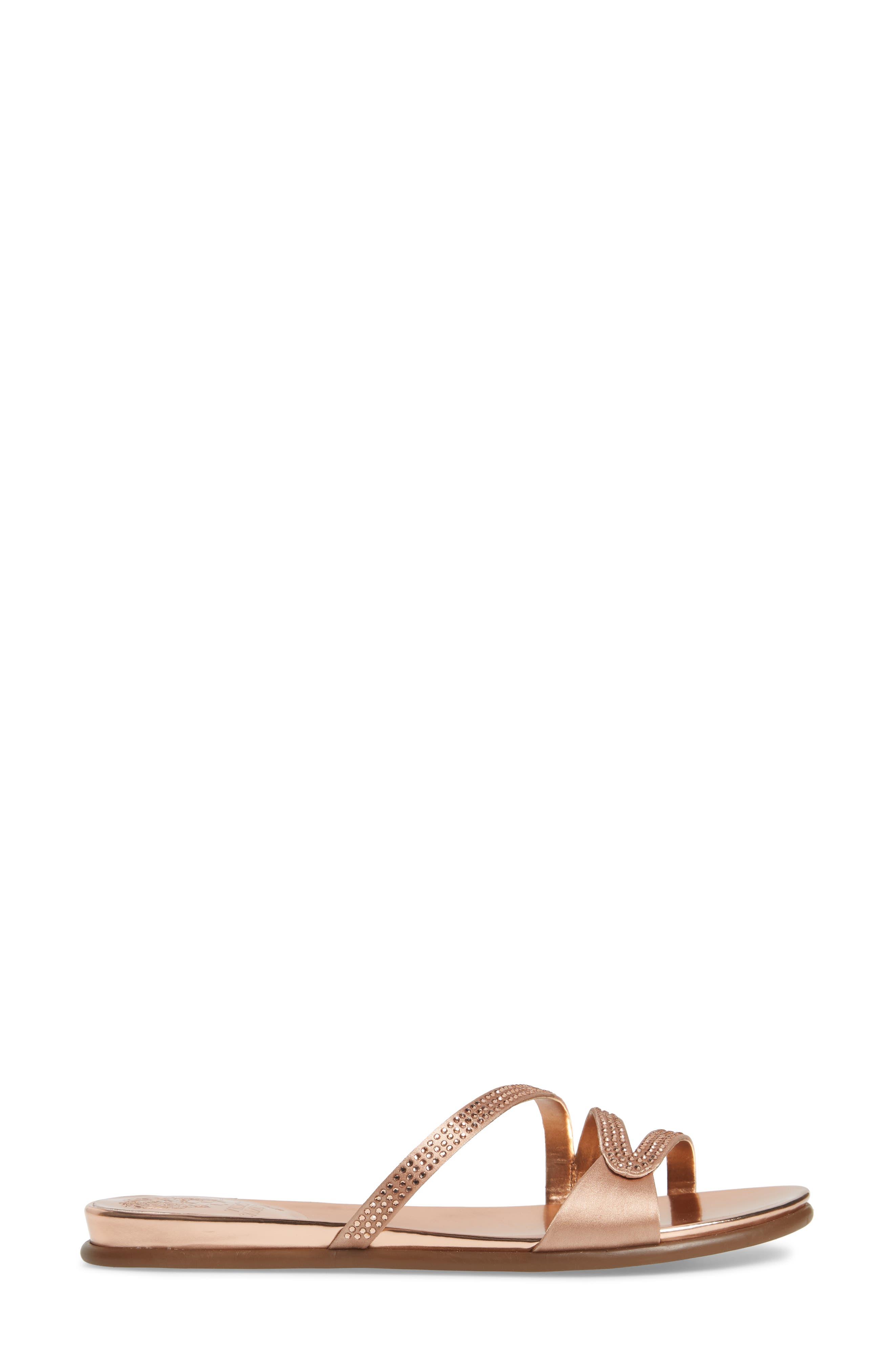 Elouisa Crystal Slide Sandal,                             Alternate thumbnail 3, color,                             Pink Bisque Satin