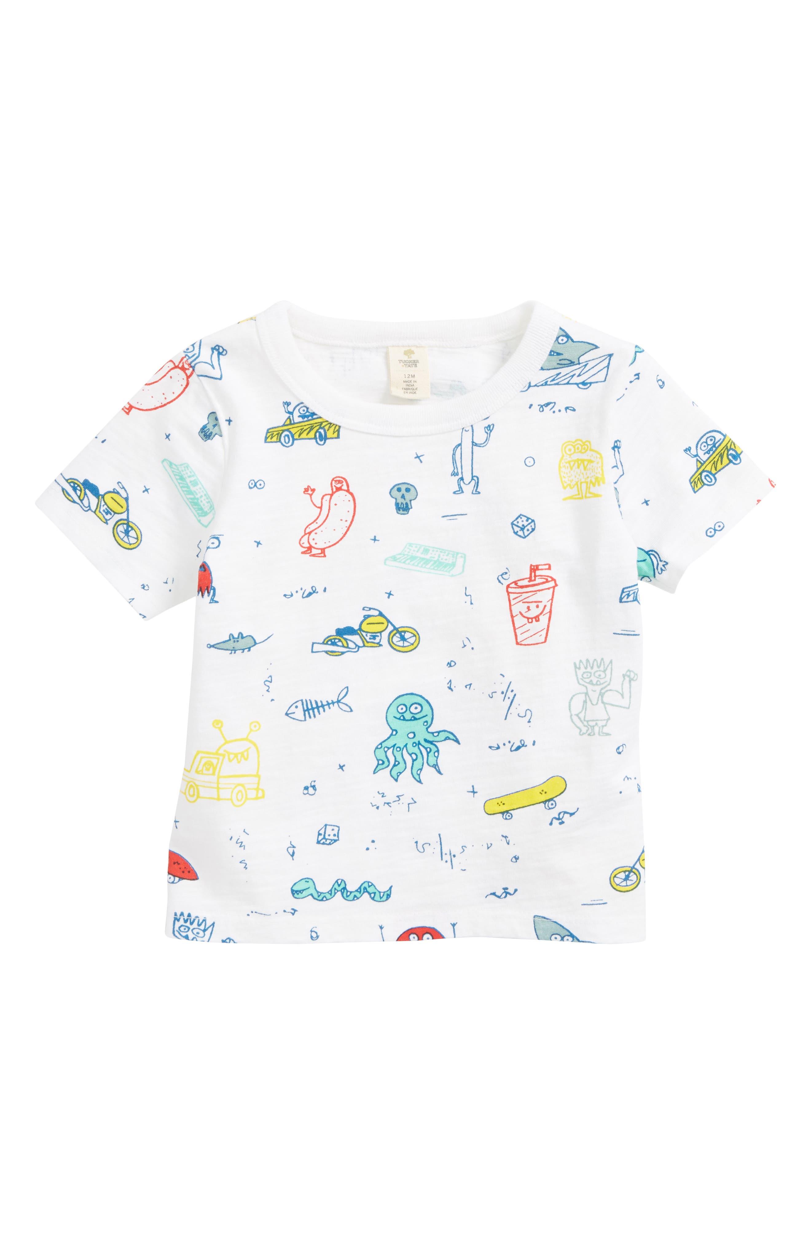 Graphic T-Shirt,                         Main,                         color, White Multi Doodle
