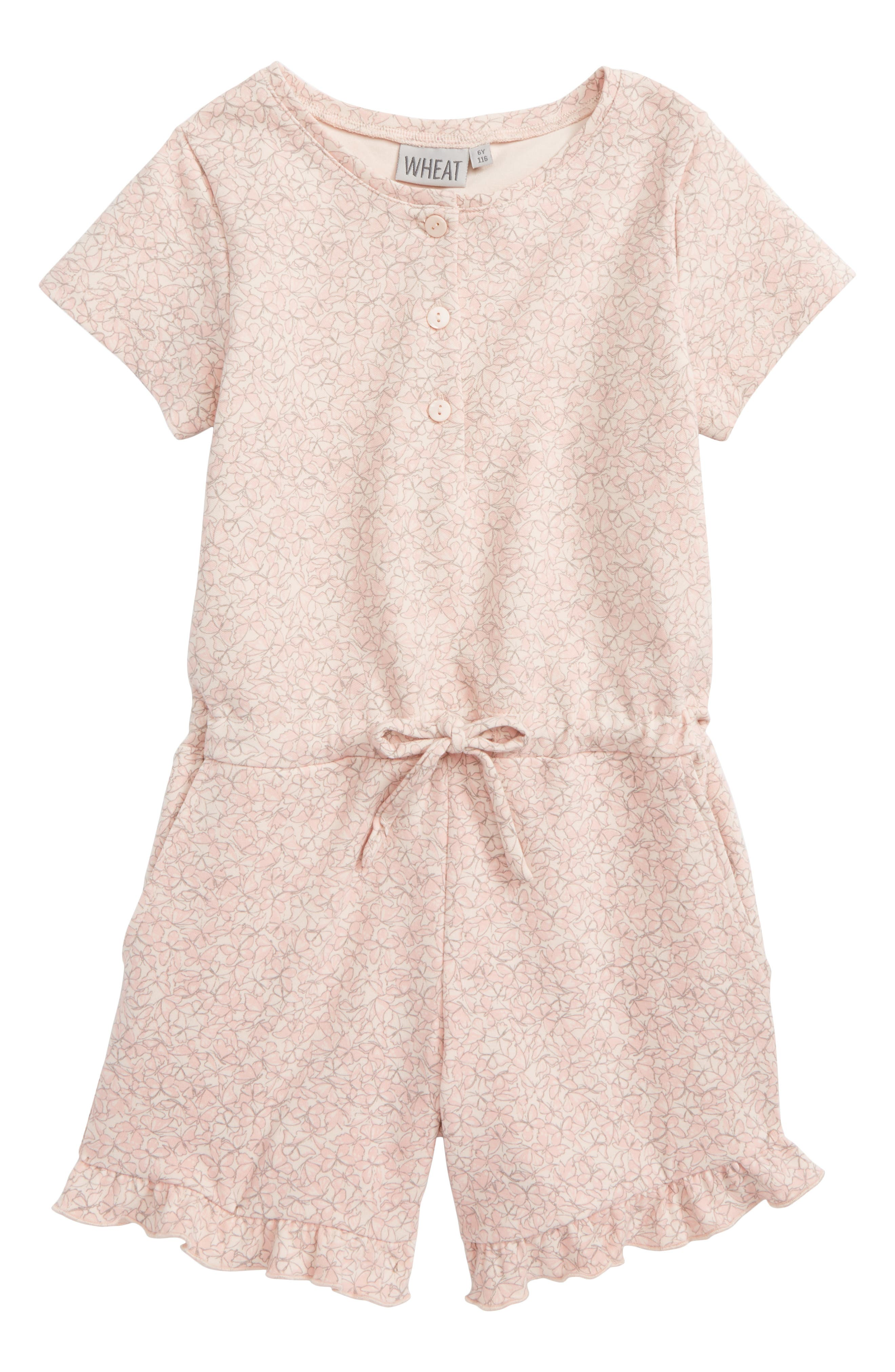 Esther Butterfly Ruffle Romper,                             Main thumbnail 1, color,                             Powder