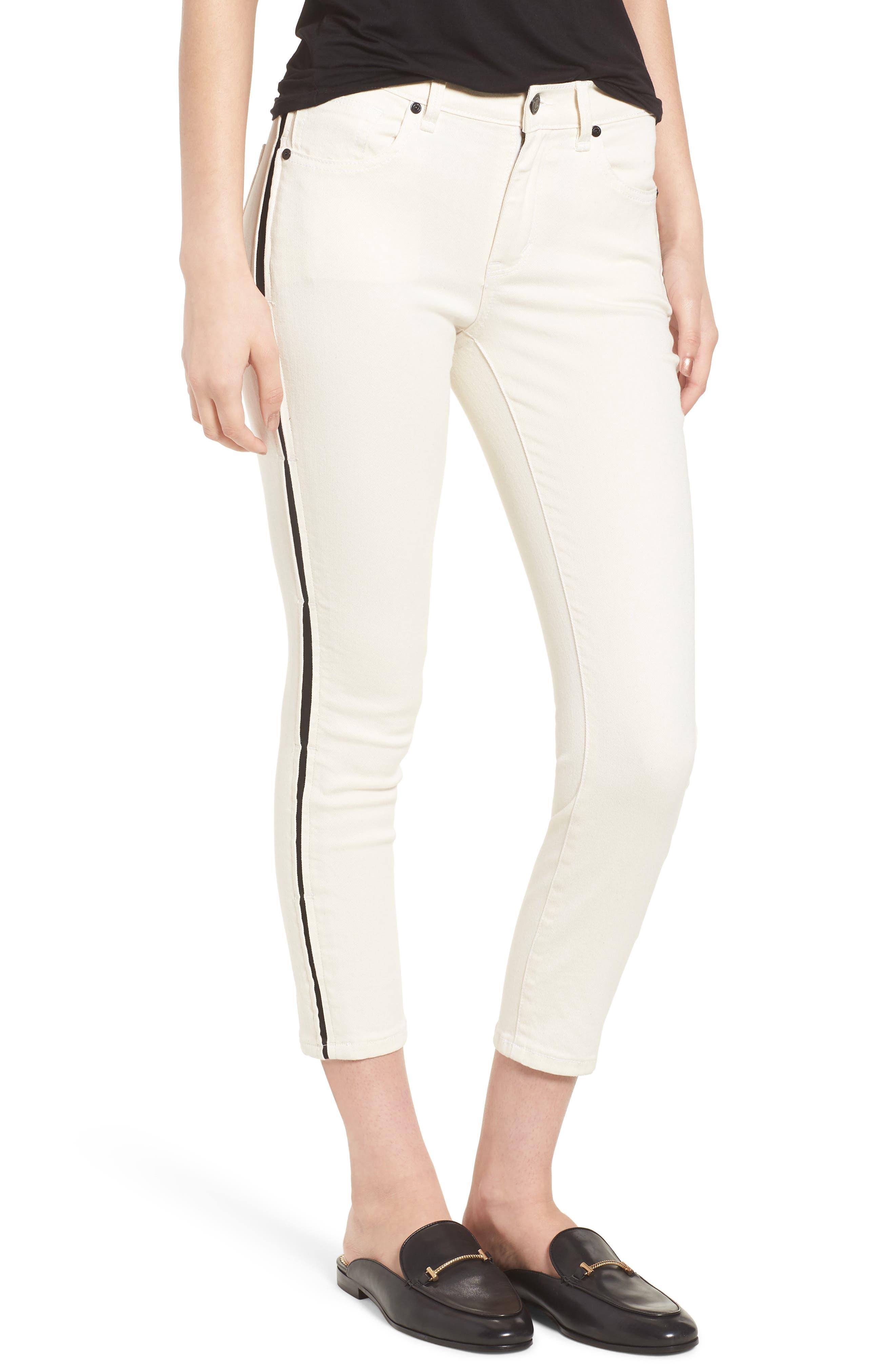 Demi Inset Stripe Skinny Jeans,                             Main thumbnail 1, color,                             Natural