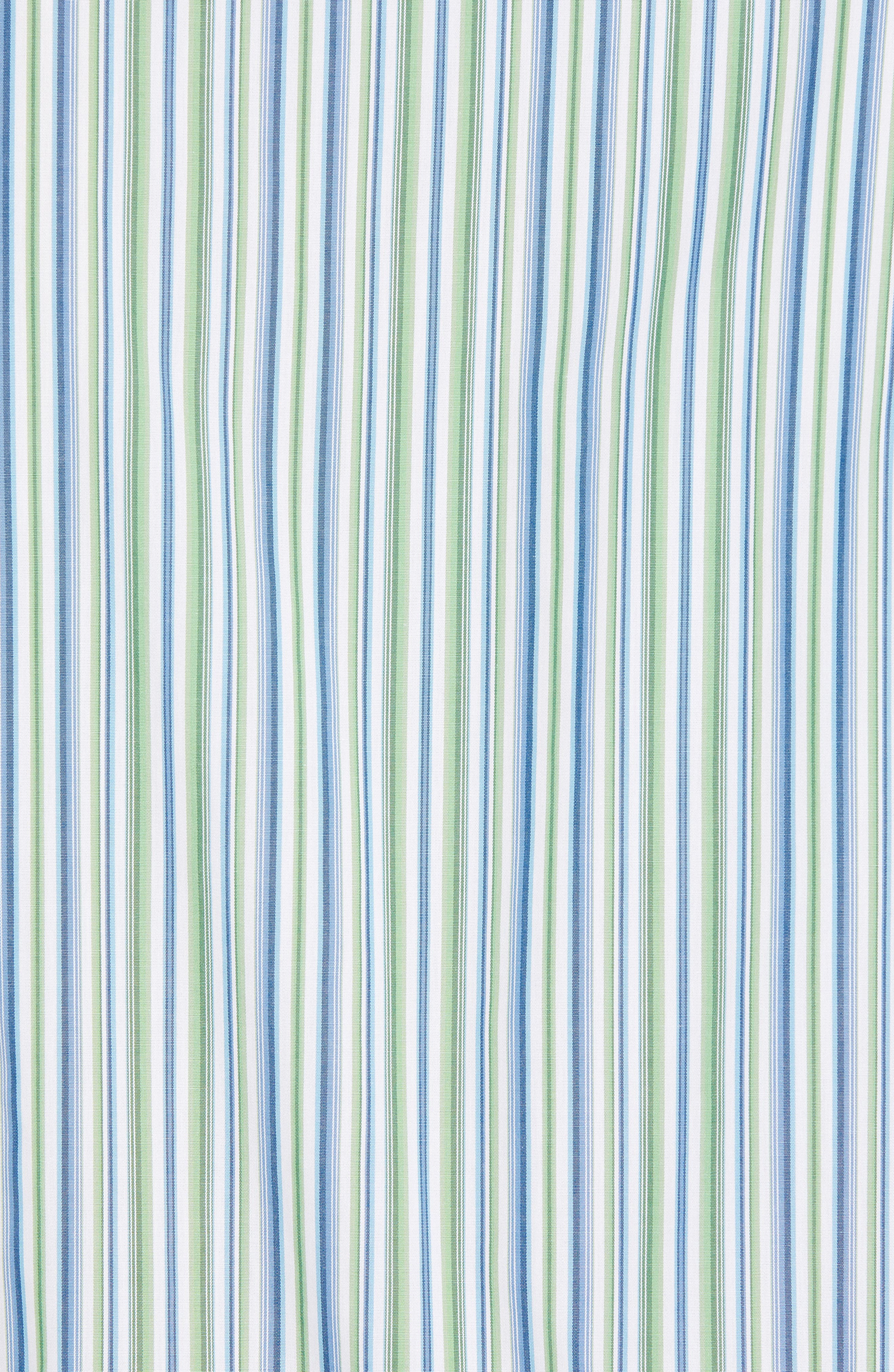 Regular Fit Stripe Sport Shirt,                             Alternate thumbnail 5, color,                             Green