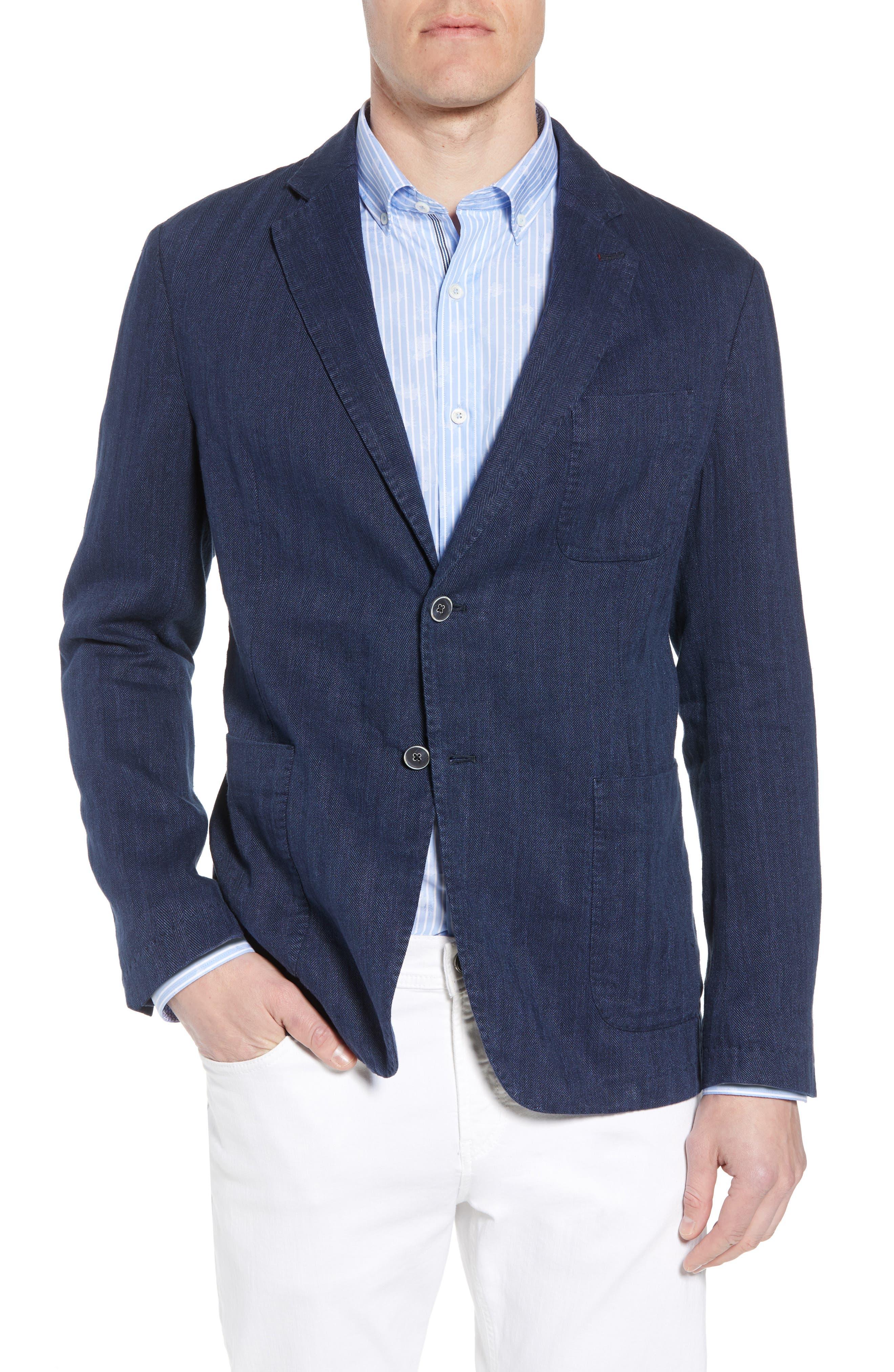 Bugatchi Regular Fit Herringbone Cotton & Linen Blazer
