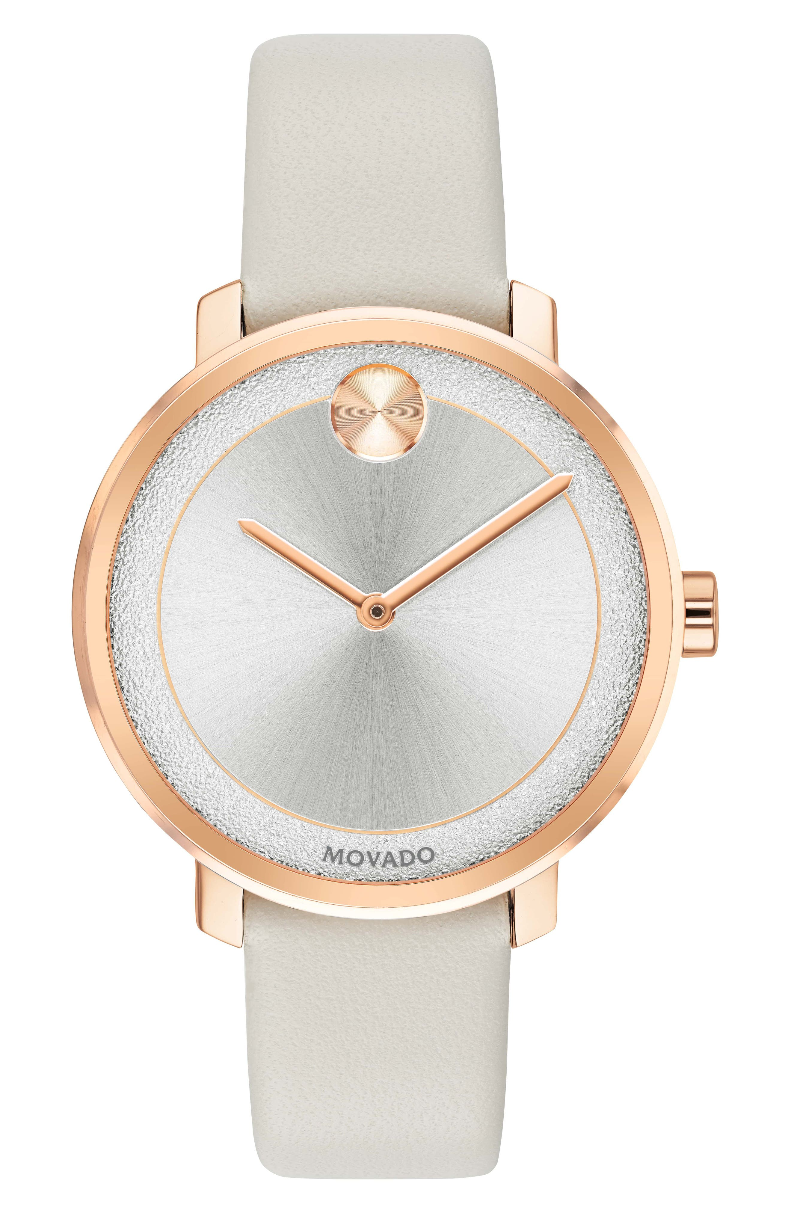 Bold Leather Strap Watch, 40mm,                             Main thumbnail 1, color,                             Grey/ Silver/ Rose Gold