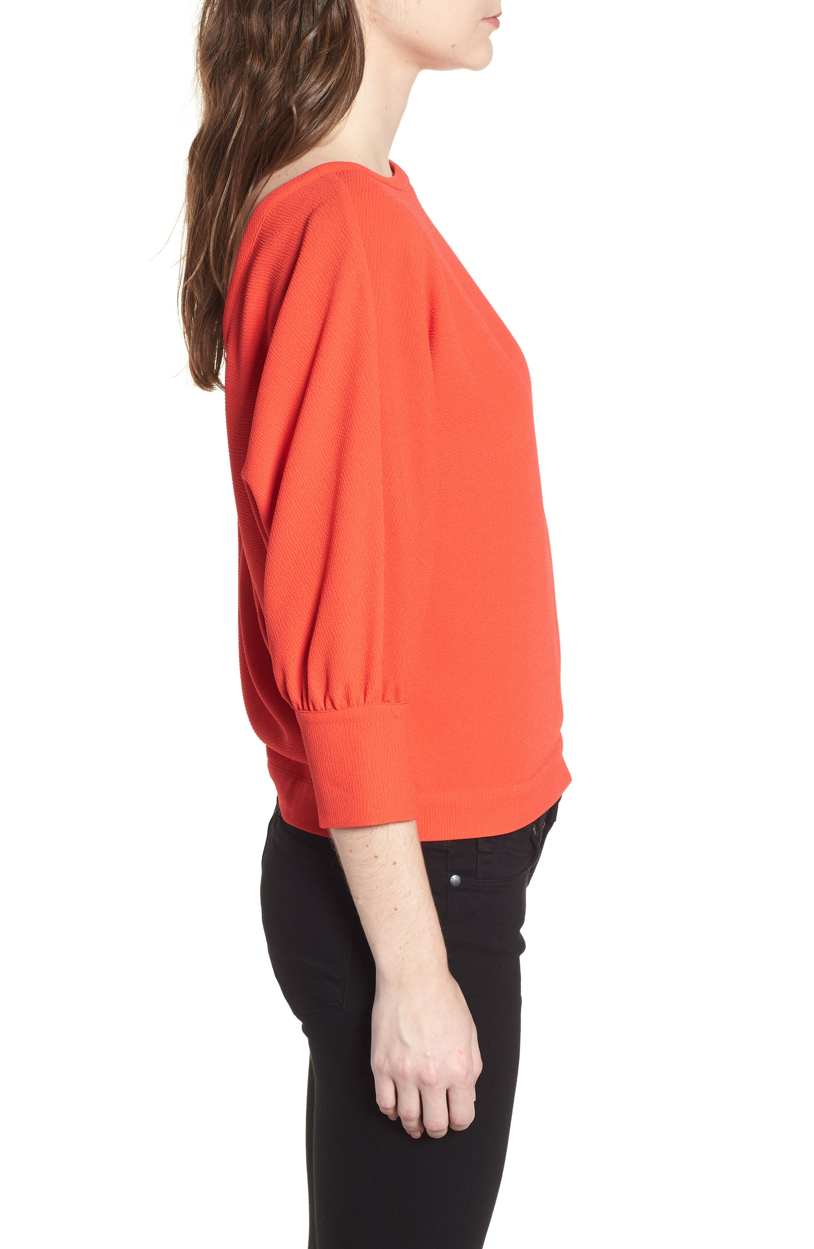 Dolman Sleeve Top,                             Alternate thumbnail 3, color,                             Red Poppy