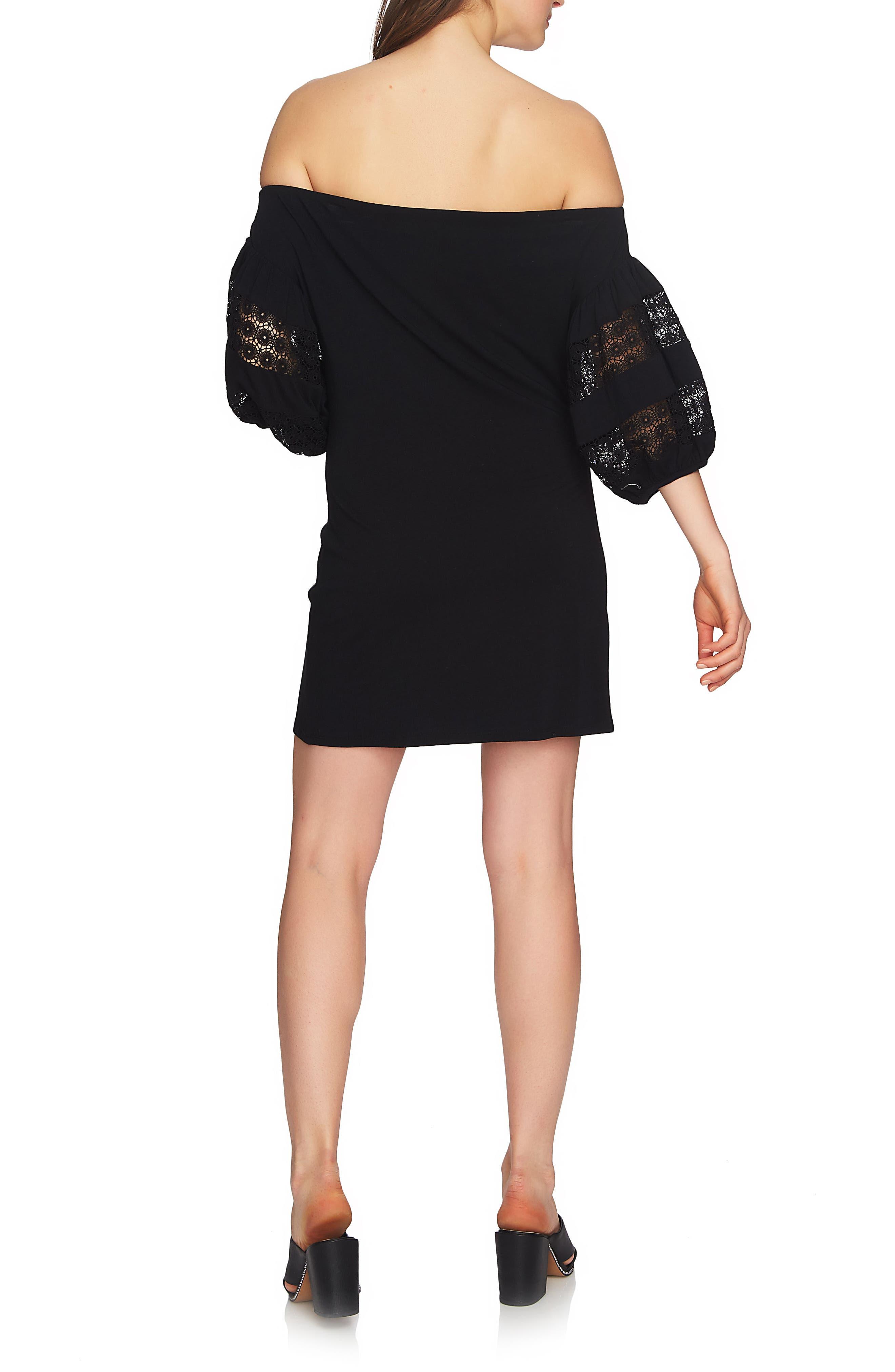 Off the Shoulder Knit Dress,                             Alternate thumbnail 2, color,                             Rich Black