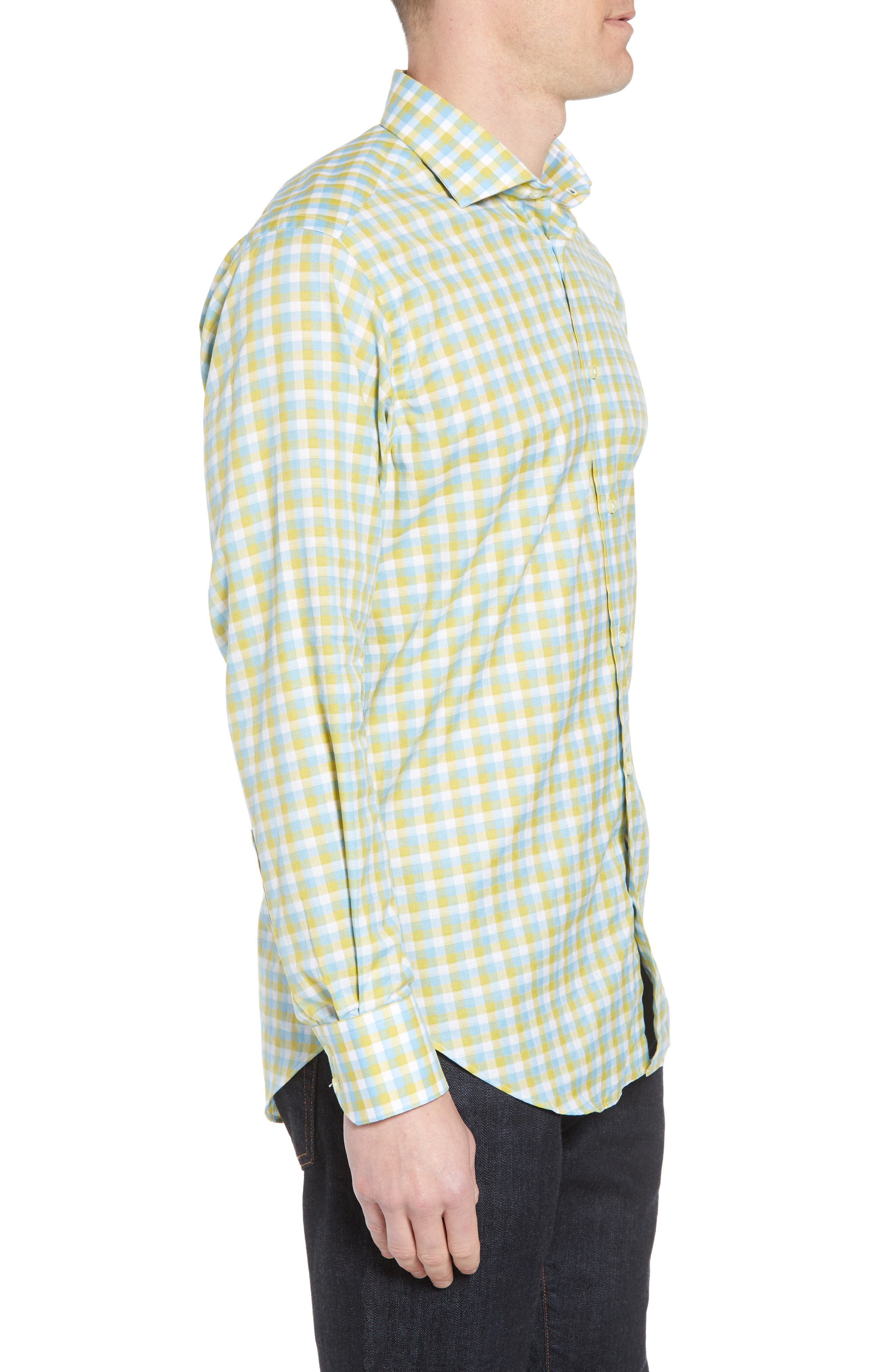 Regular Fit Check Sport Shirt,                             Alternate thumbnail 3, color,                             Yellow