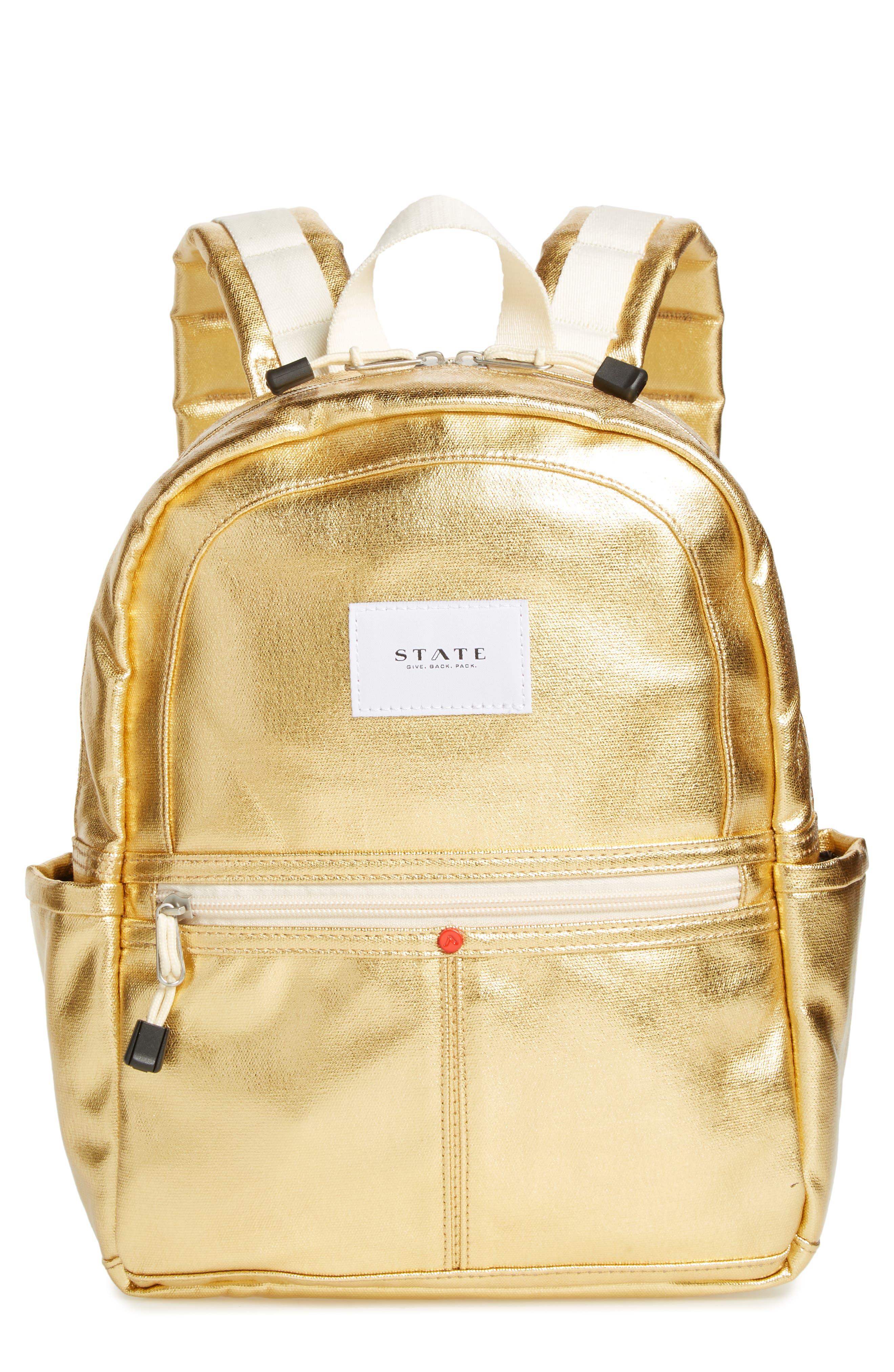 Downtown Mini Kane Metallic Backpack,                             Main thumbnail 1, color,                             Gold