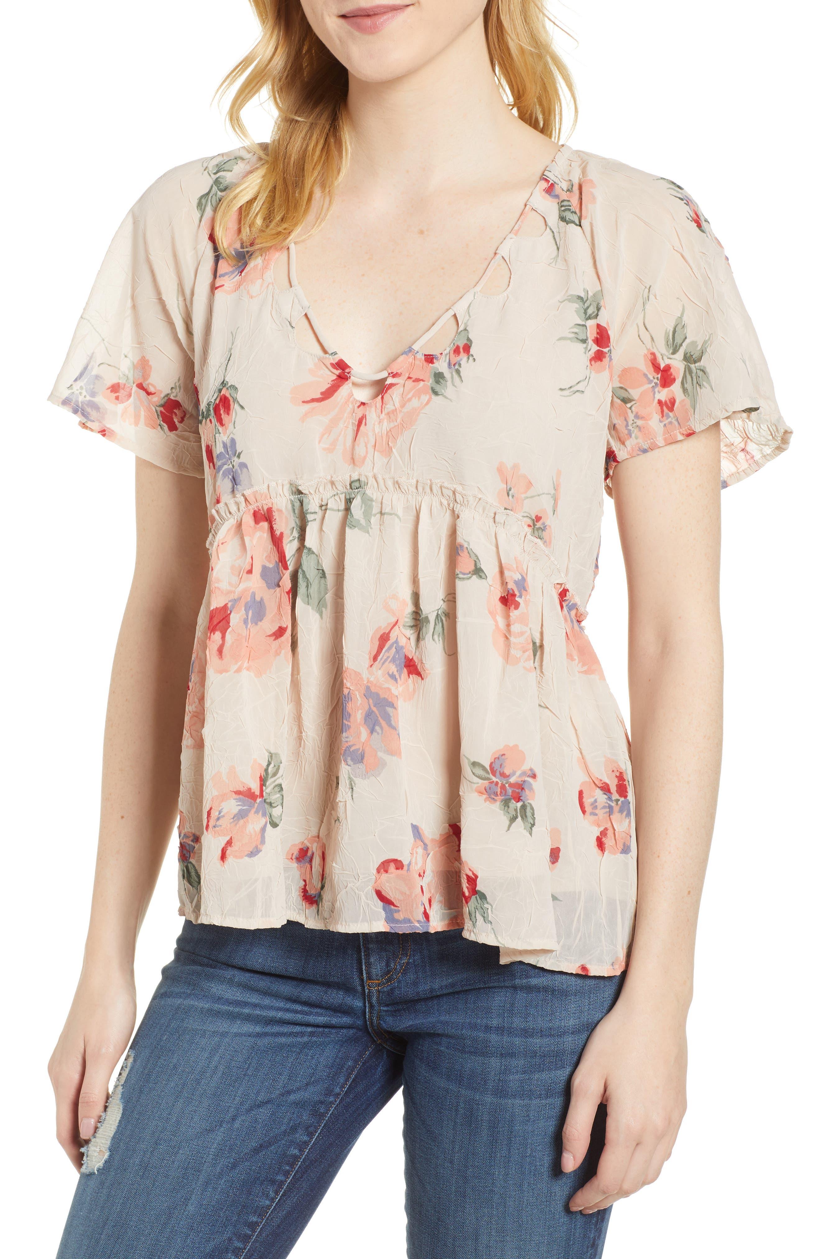Floral Flutter Top,                         Main,                         color, Pink Multi