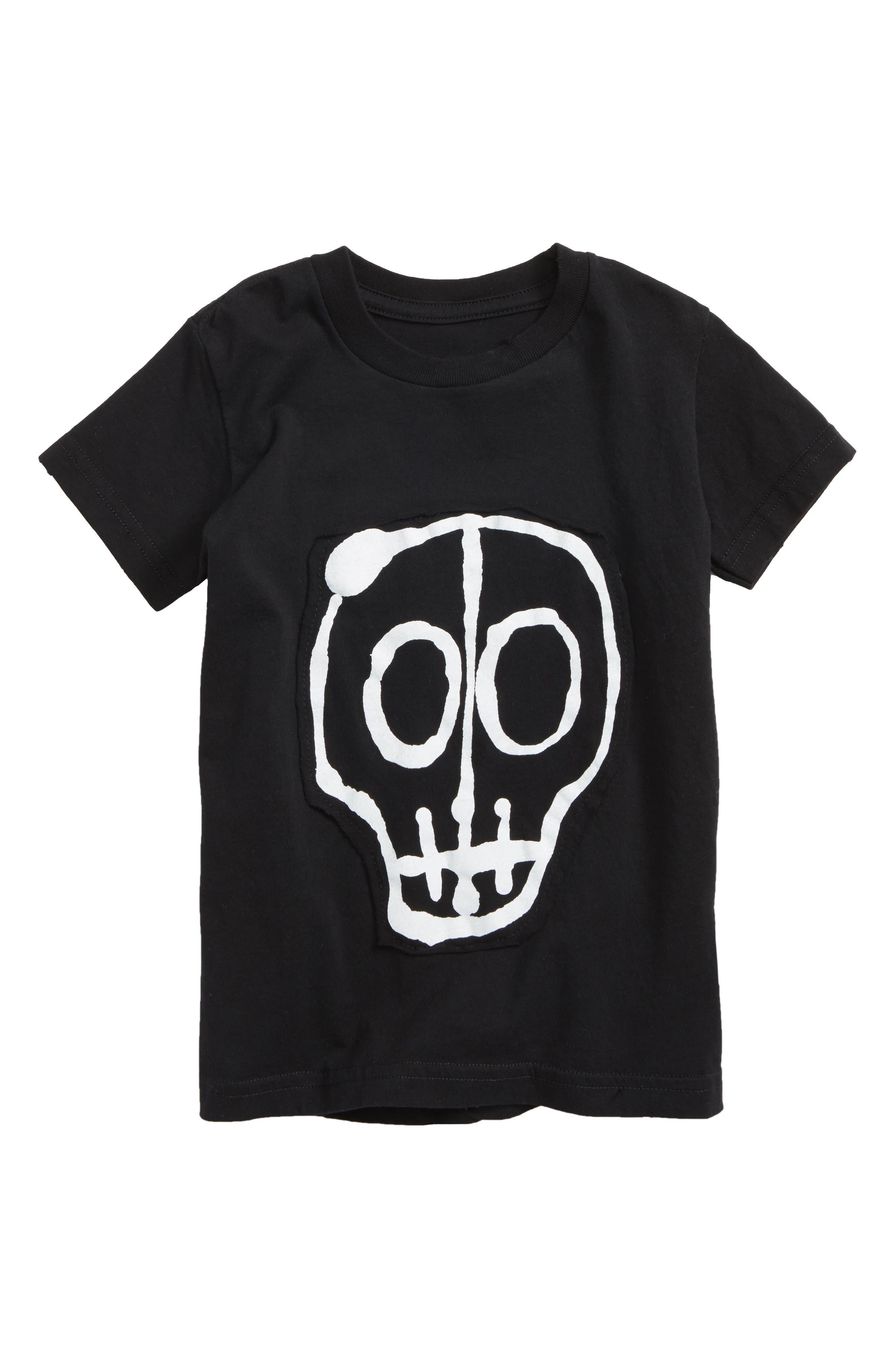 Skull Appliqué T-Shirt,                         Main,                         color, Black