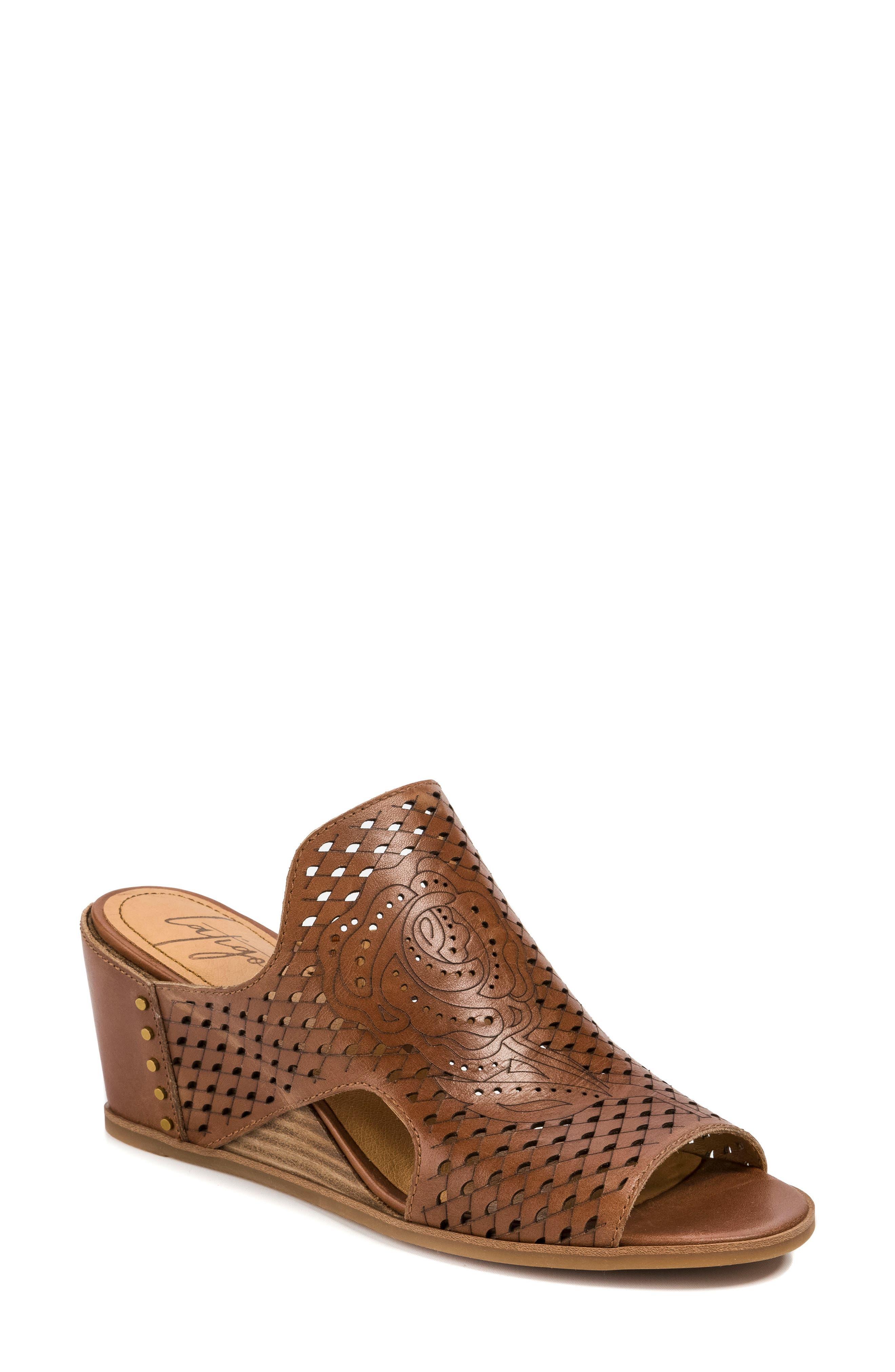 Janis Laser Cut Wedge Sandal,                         Main,                         color, Brush Brown Leather