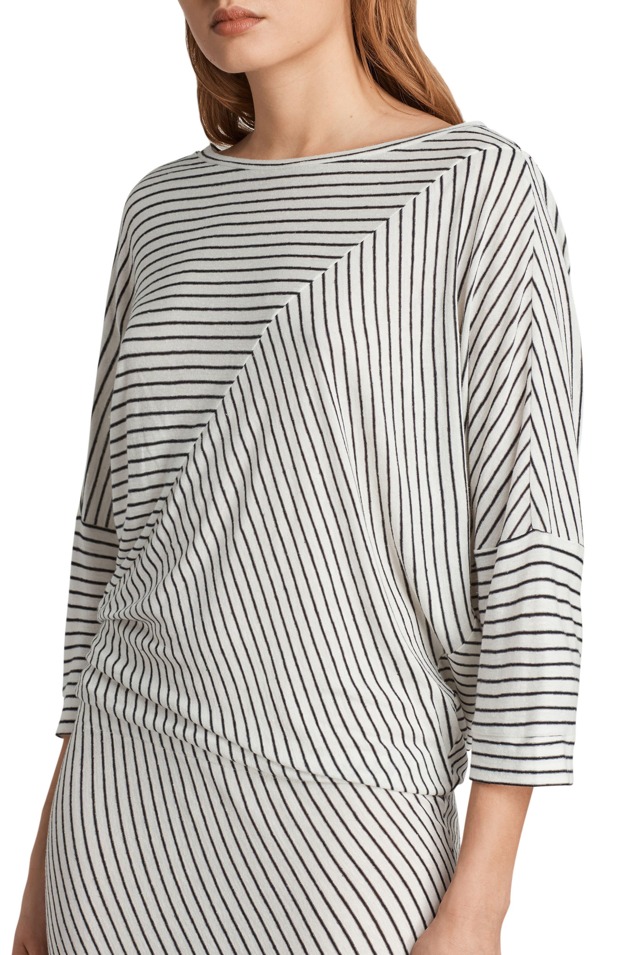Cadie Stripe Midi Dress,                             Alternate thumbnail 4, color,                             Ecru White/ Black