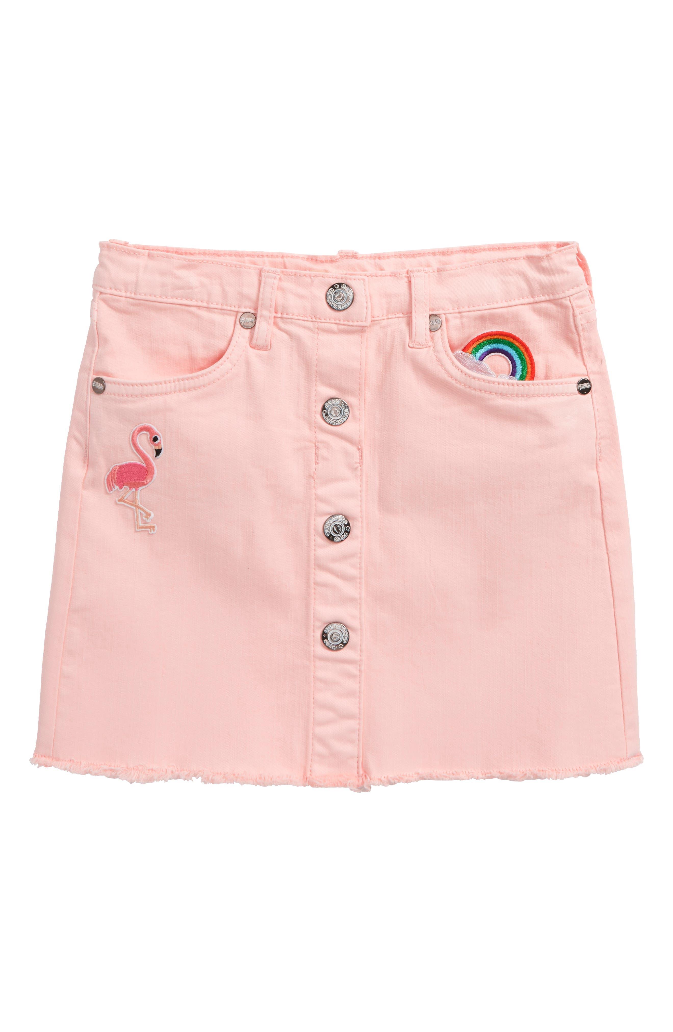 Flamingo Denim Skirt,                             Main thumbnail 1, color,                             Pink