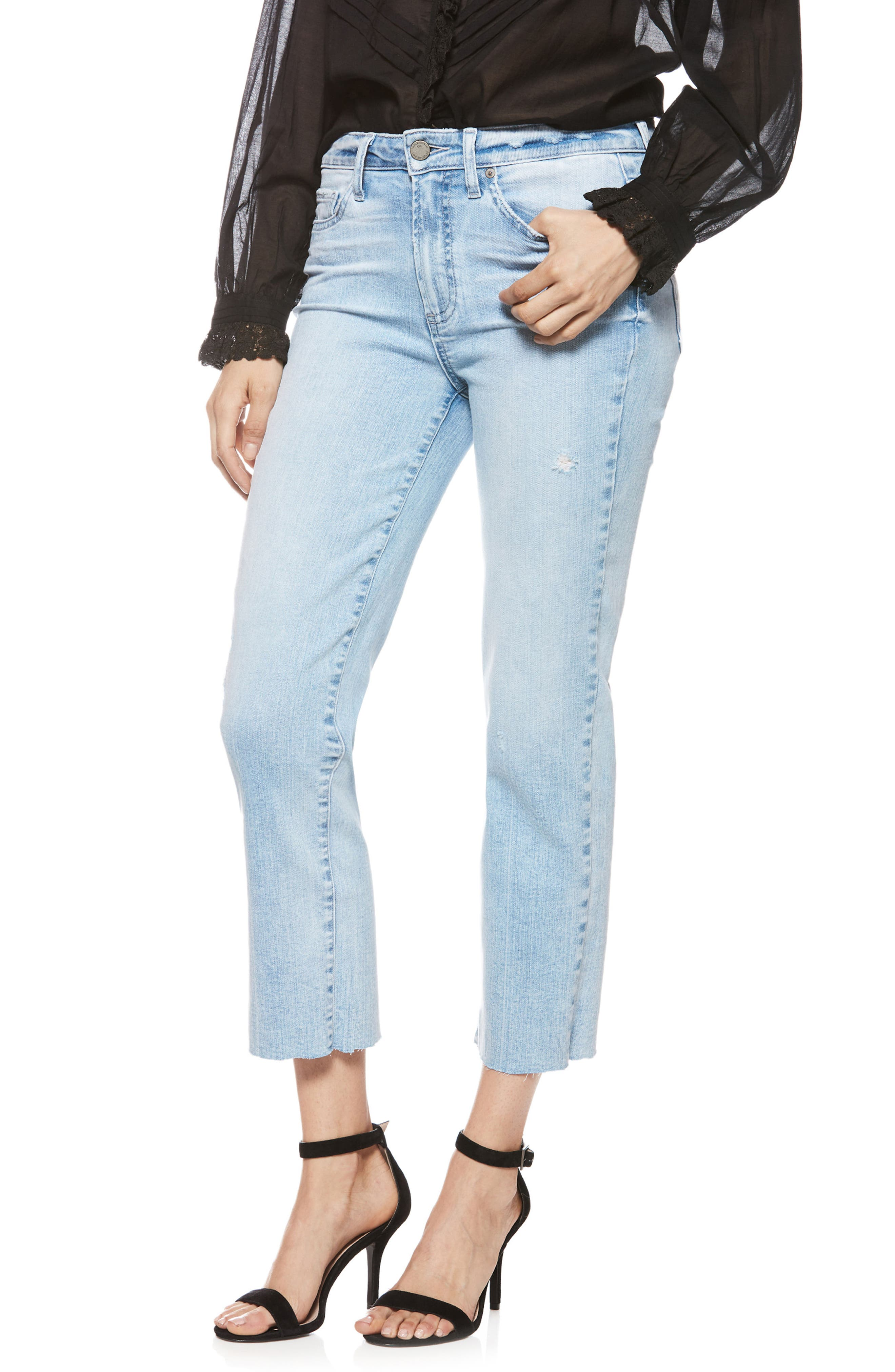Hoxton High Waist Crop Straight Leg Jeans,                         Main,                         color, Pasadena W/ Wash Crease