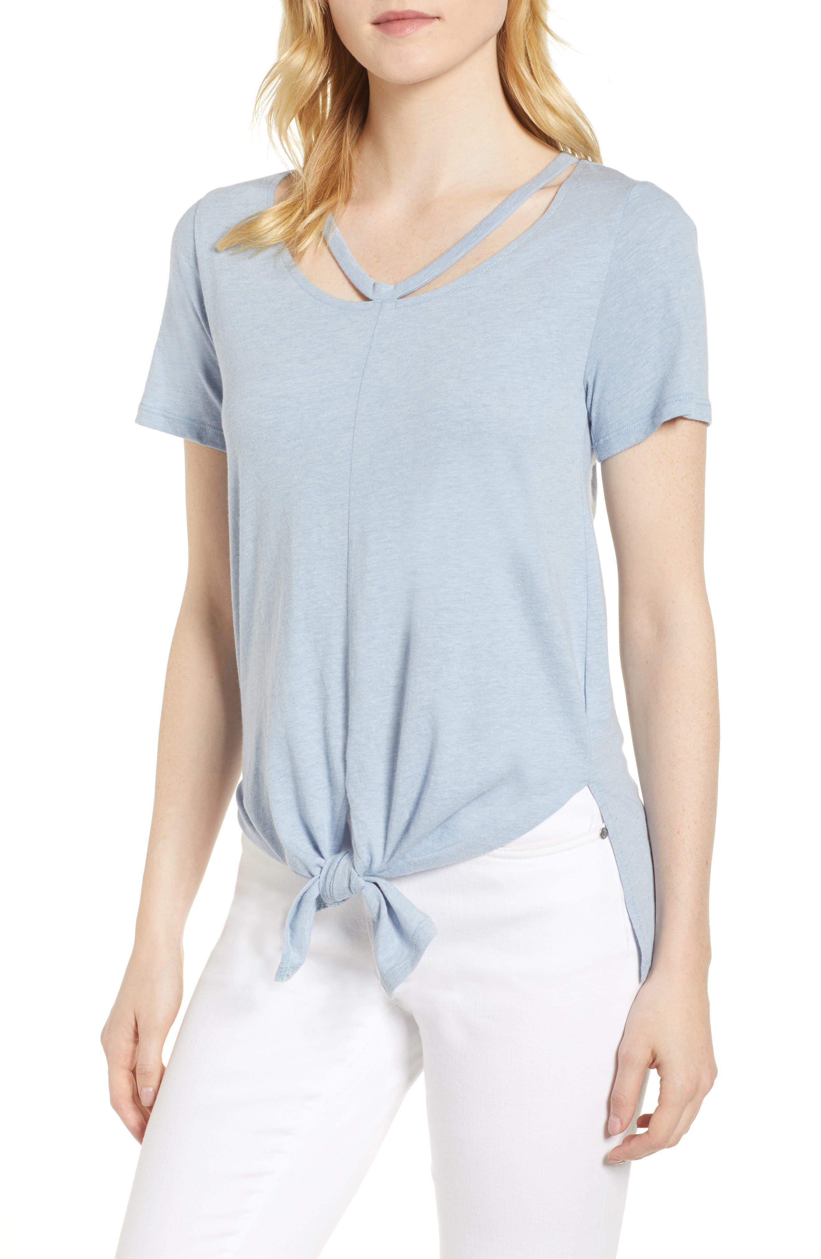 Cutout Neck Front Tie Tee,                         Main,                         color, Washed Blue
