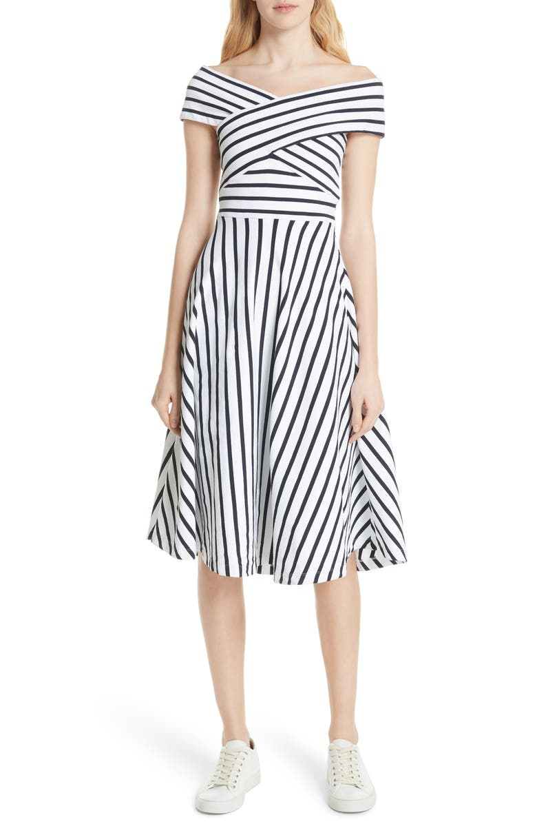 Rivera Off the Shoulder Stripe Stretch Knit Dress