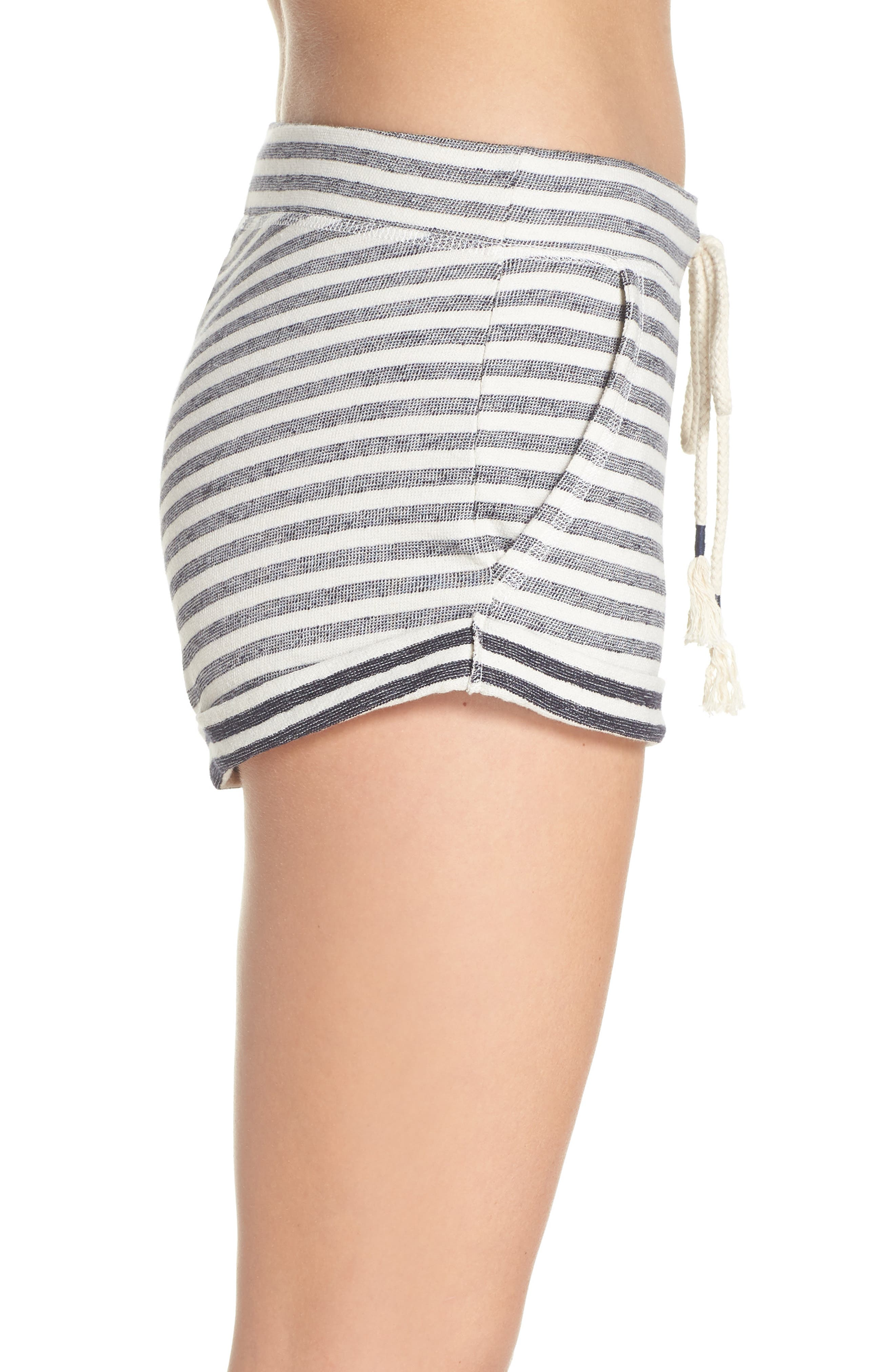 Stripe Pajama Shorts,                             Alternate thumbnail 3, color,                             Ivory/ Navy Stripe