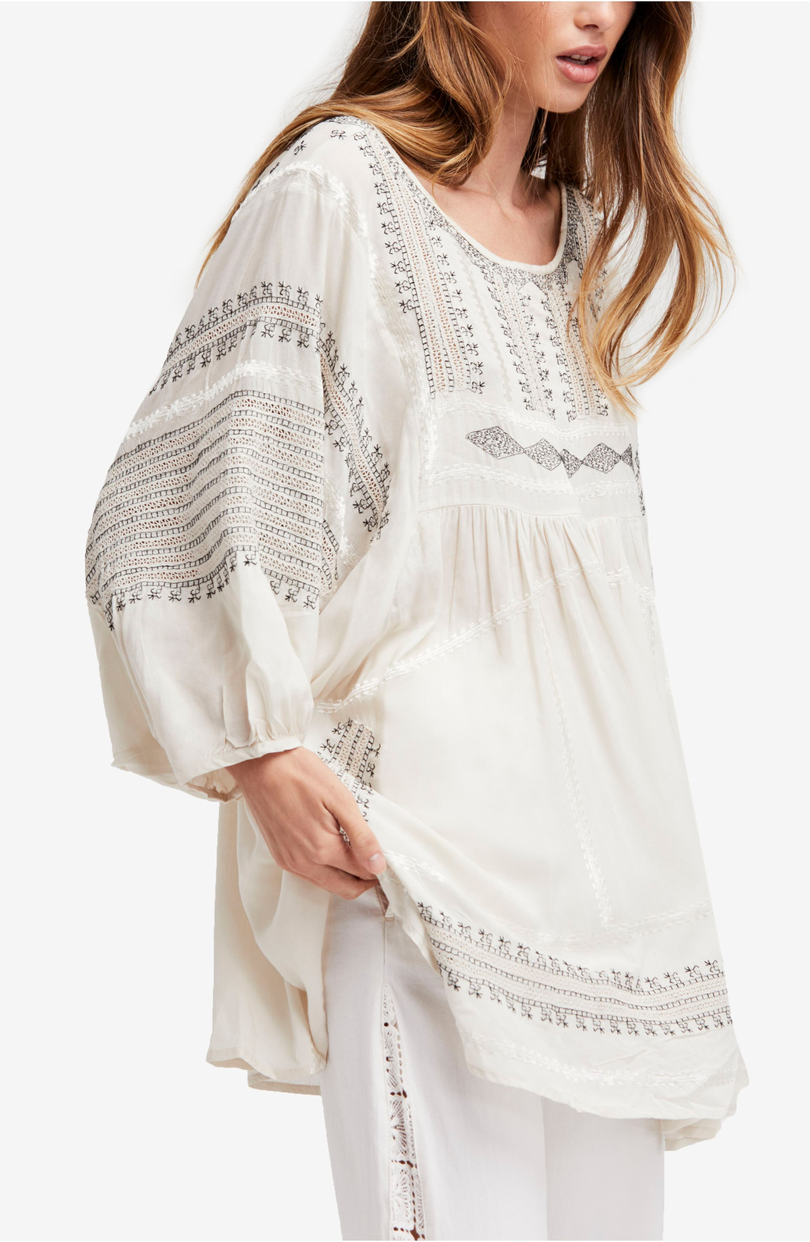 Wild One Embroidered Top,                             Main thumbnail 1, color,                             Ivory