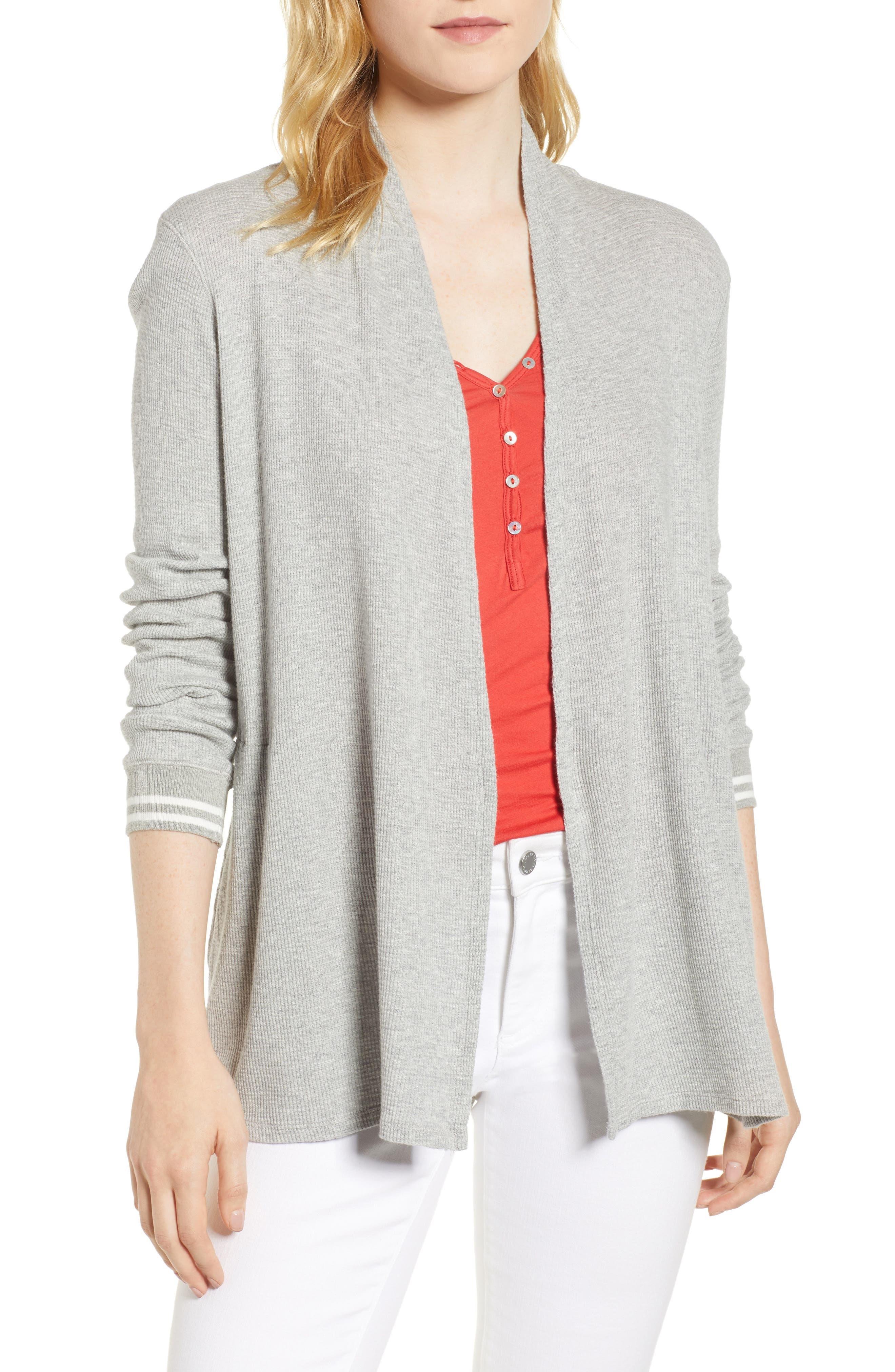 Baby Thermal Open Knit Cardigan,                         Main,                         color, Heather Grey