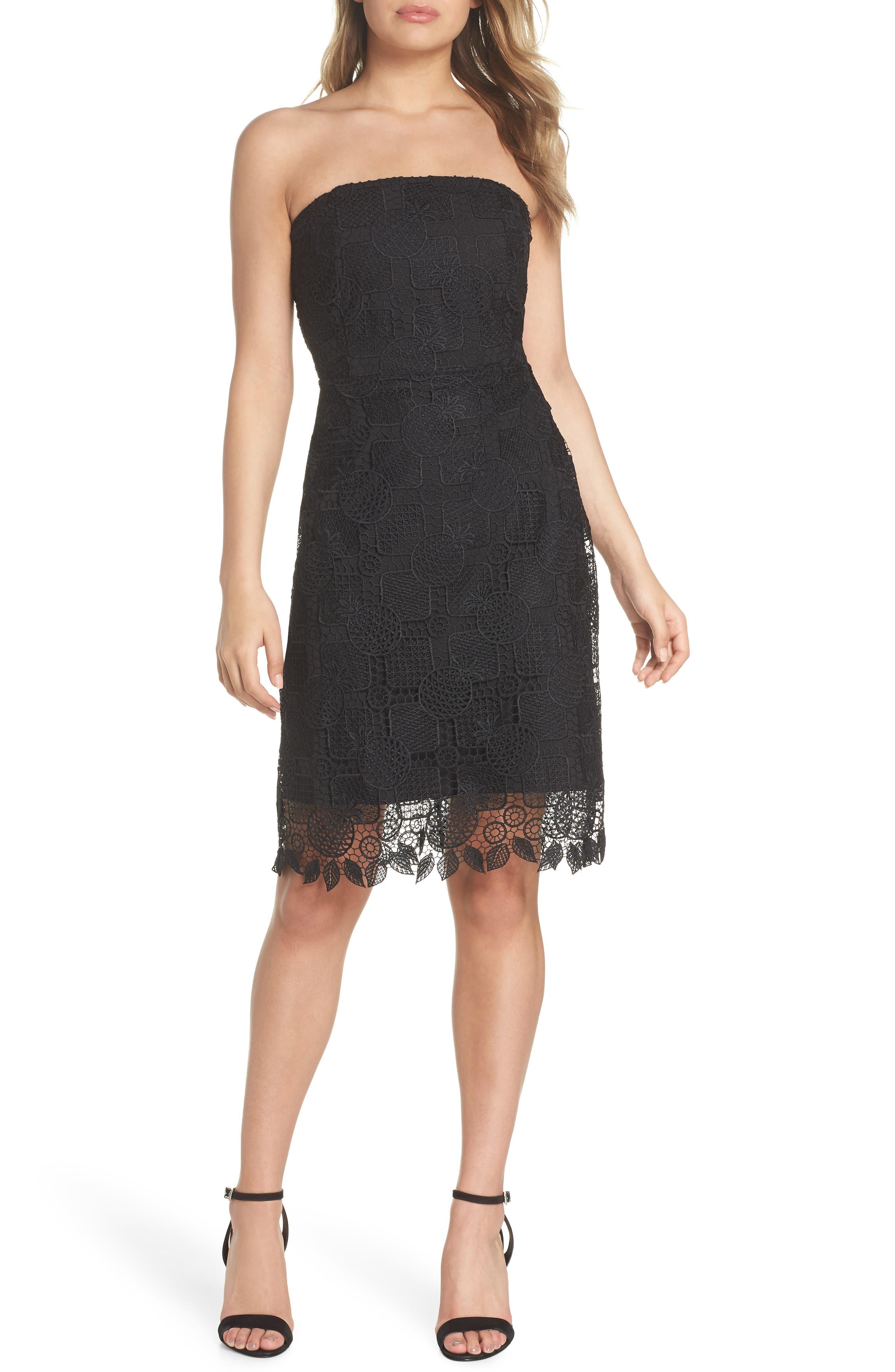 Strapless Lace Dress,                         Main,                         color, Black
