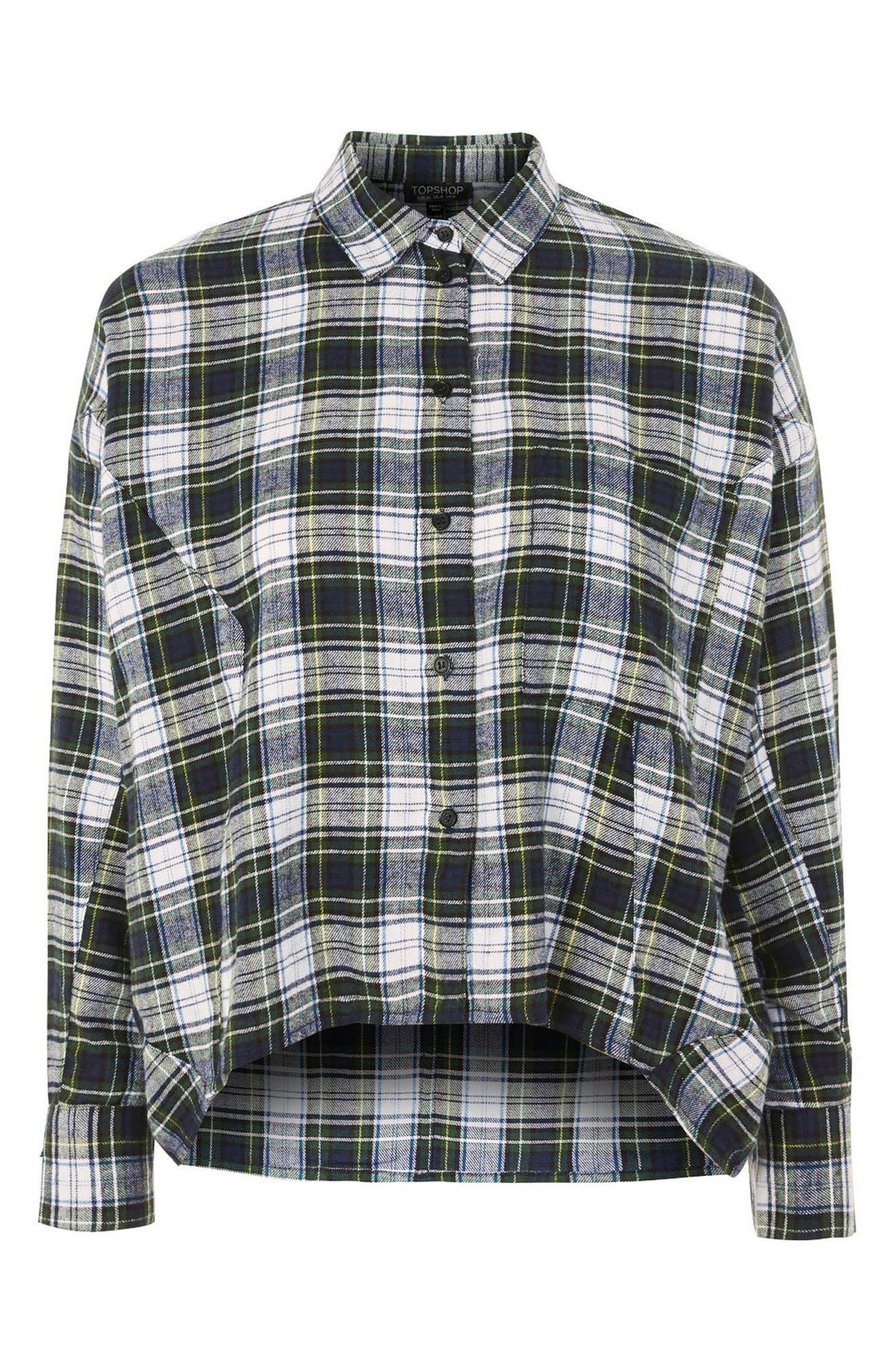 Boxy Plaid Shirt,                             Alternate thumbnail 4, color,                             Green Multi
