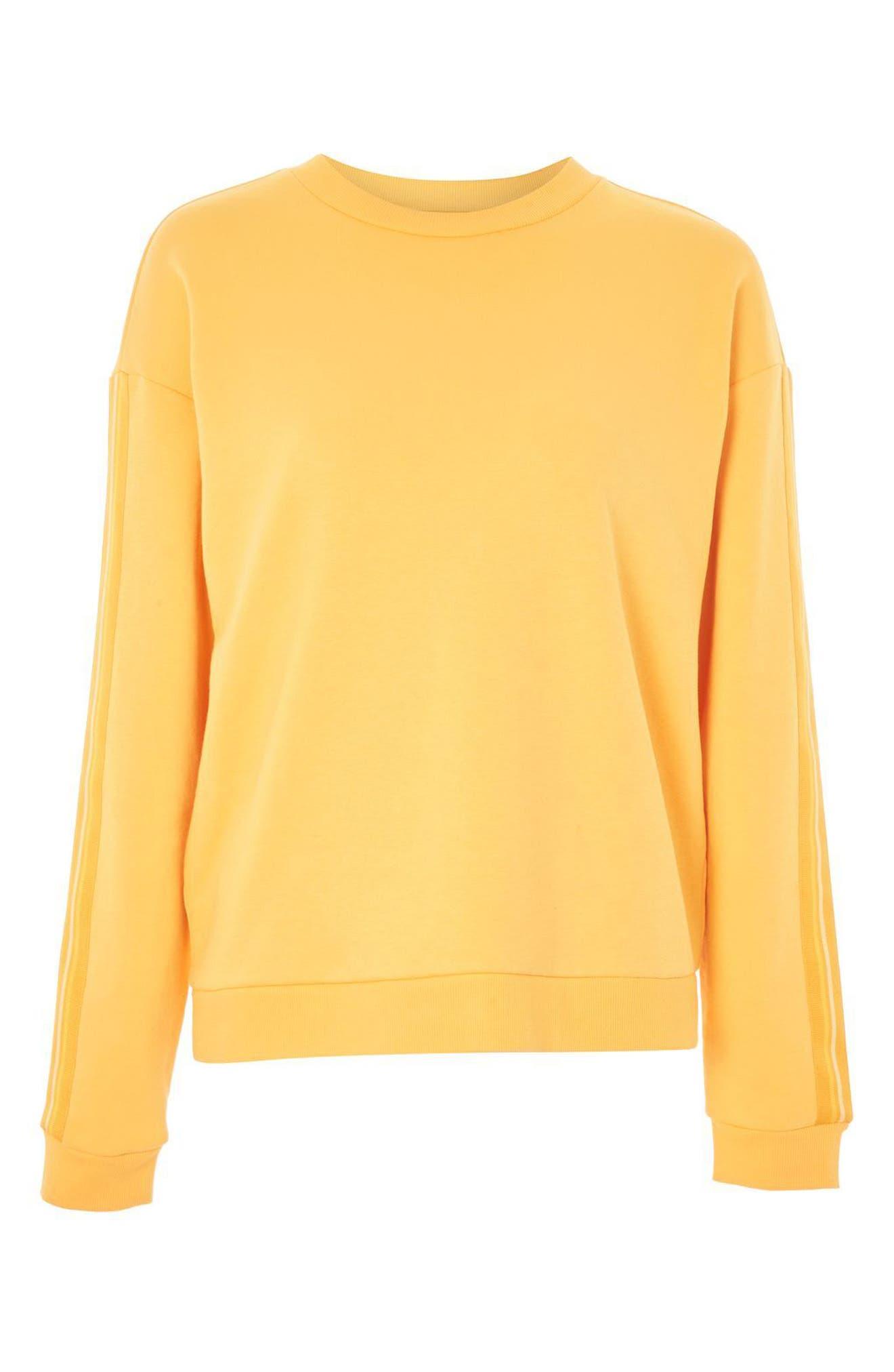 Taped Sleeve Sweatshirt,                             Alternate thumbnail 4, color,                             Mustard