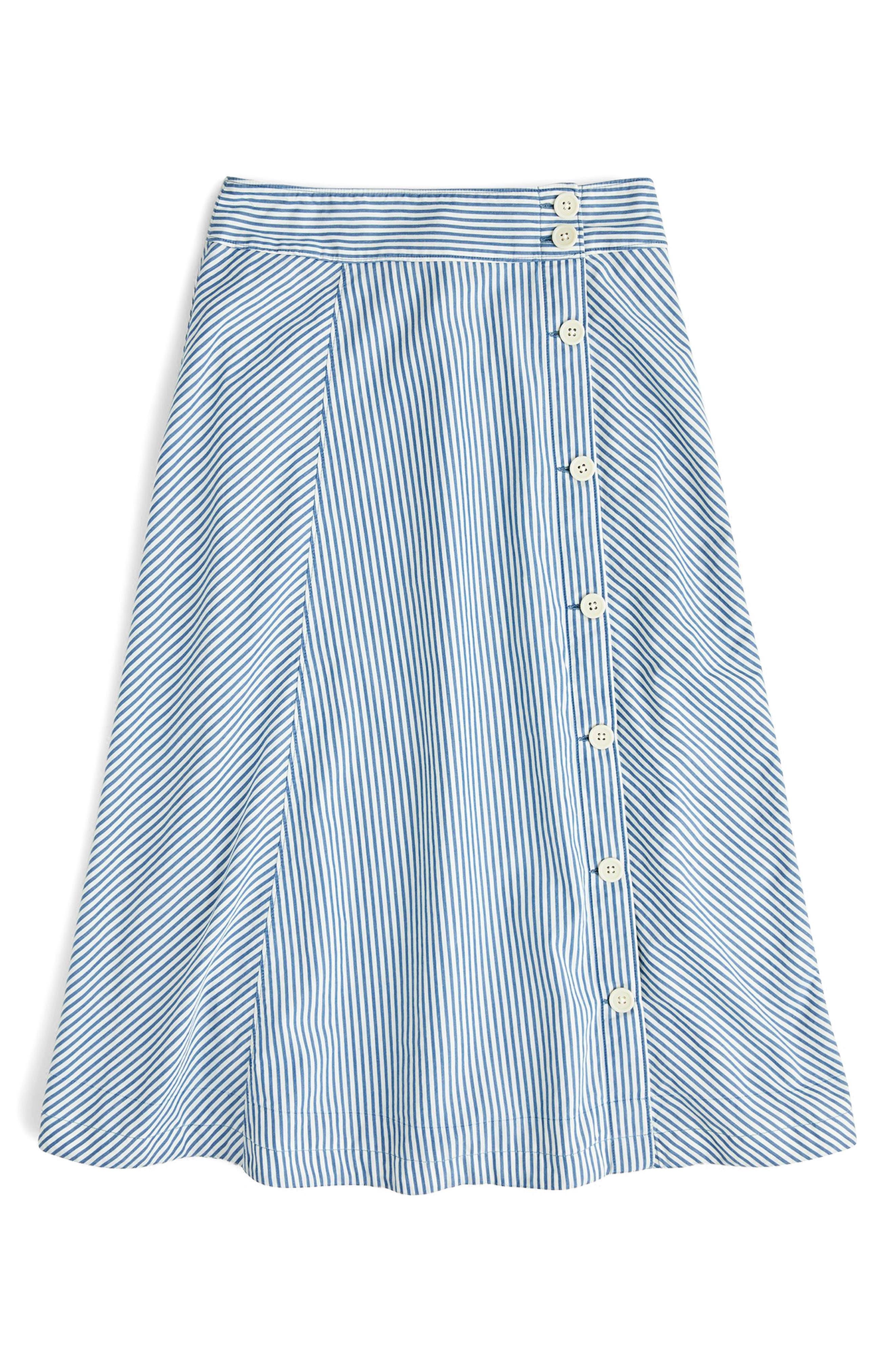 Side Button Stripe Skirt,                             Alternate thumbnail 3, color,                             Denim Side Button Skirt Stripe