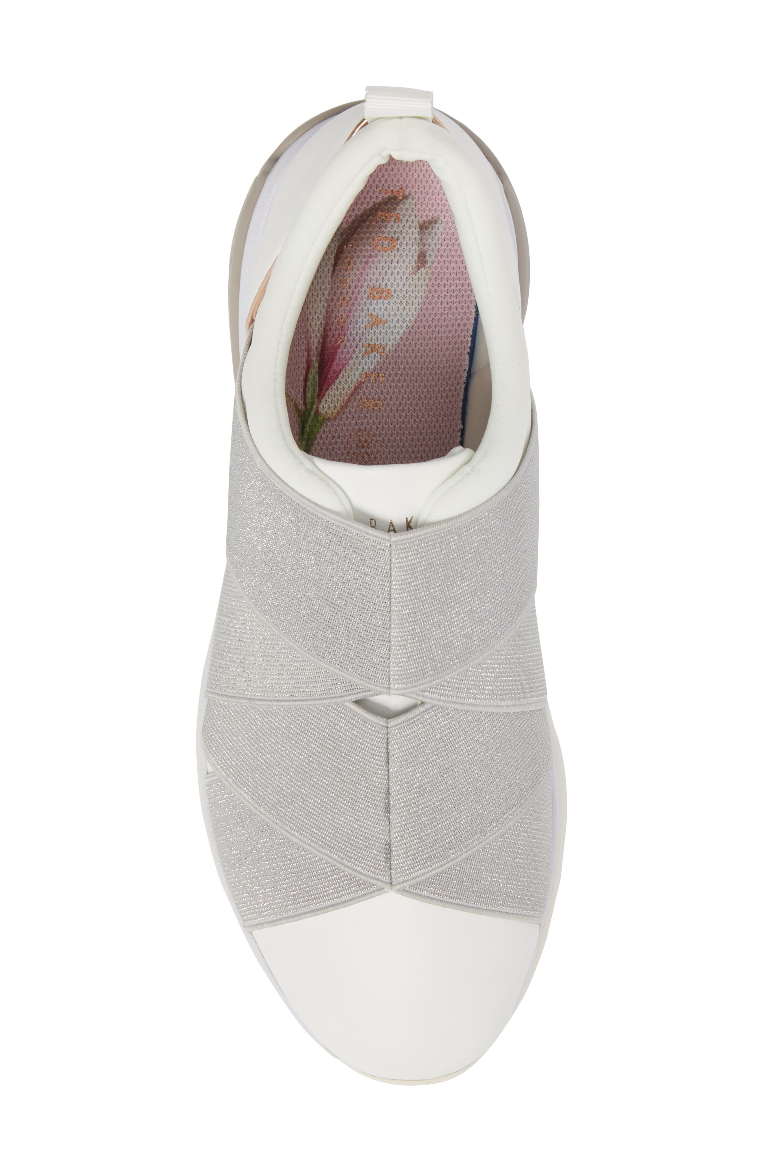 Queane Sneaker,                             Alternate thumbnail 5, color,                             White/ Silver Leather