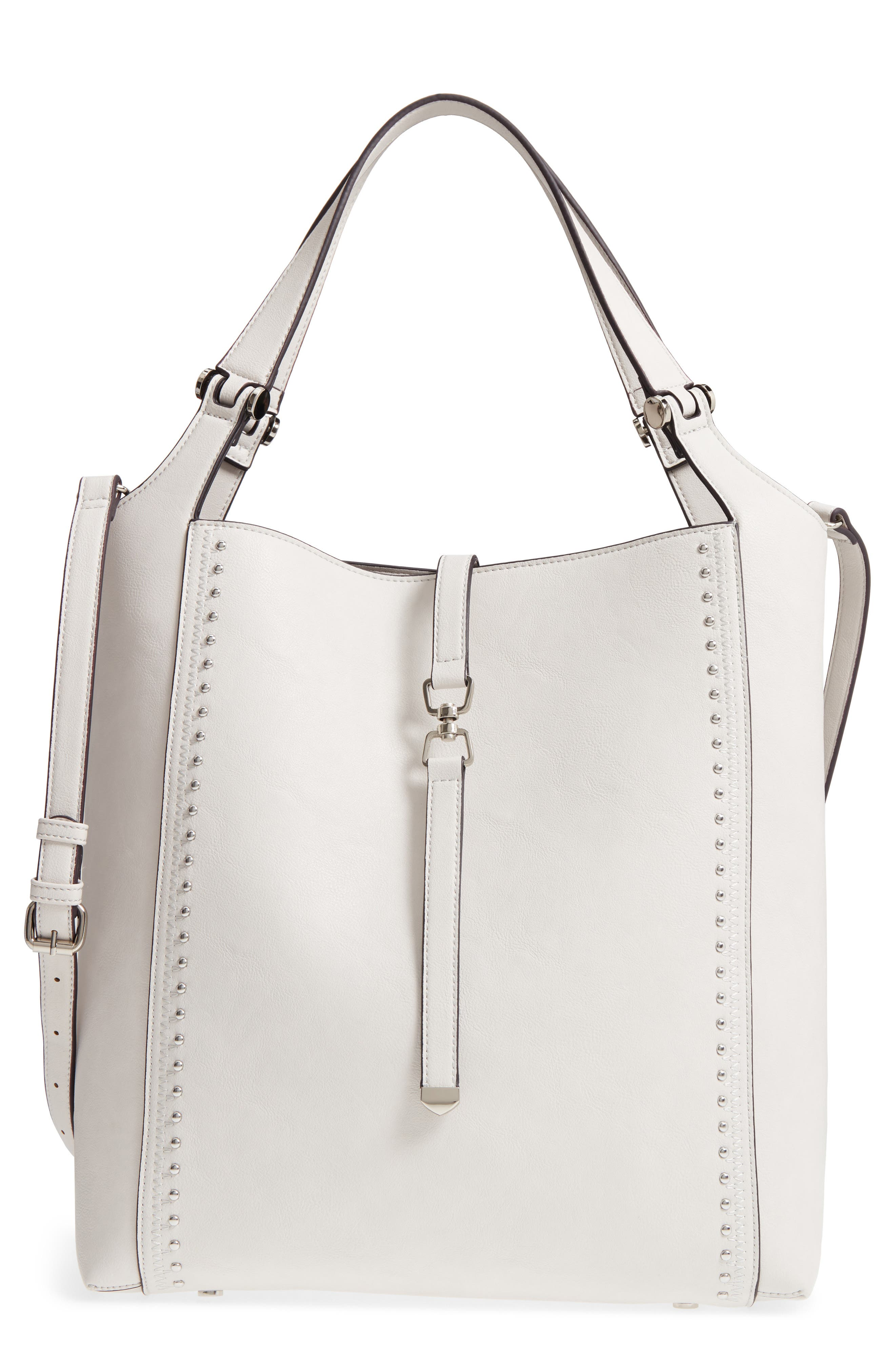 Large Studded Faux Leather Tote,                             Main thumbnail 1, color,                             Linen