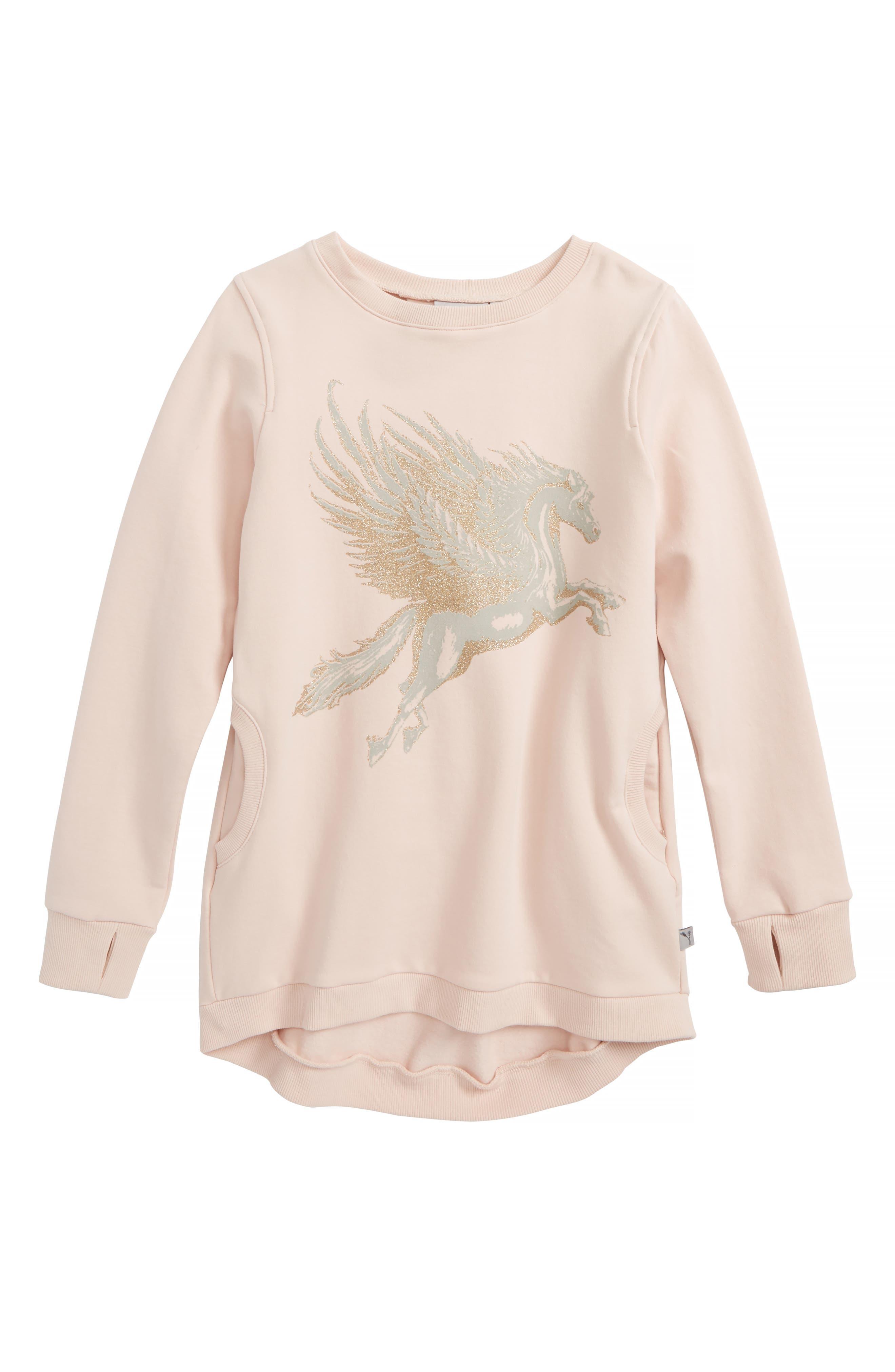 Glitter Graphic Sweatshirt,                             Main thumbnail 1, color,                             2400 Powder