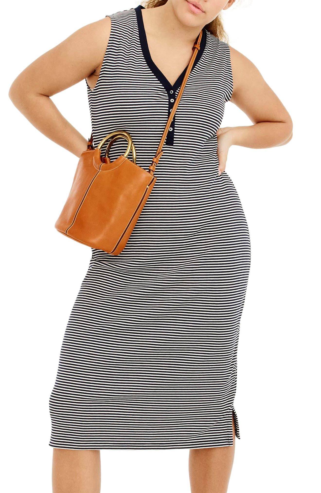 Sleeveless Henley Stripe Midi Dress,                             Main thumbnail 1, color,                             Navy Ivory