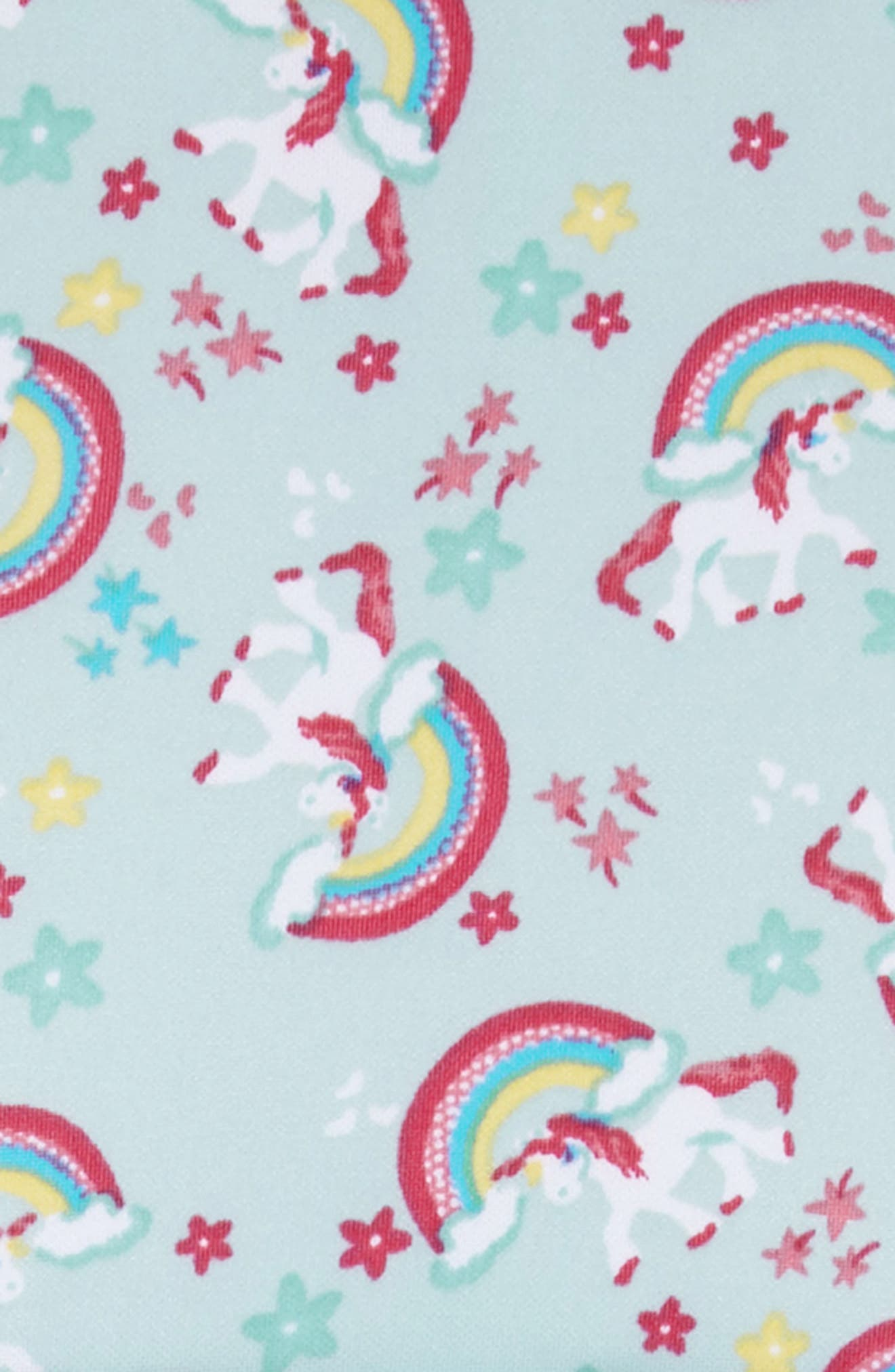Unicorn Print Dress,                             Alternate thumbnail 3, color,                             Mint/ Pink