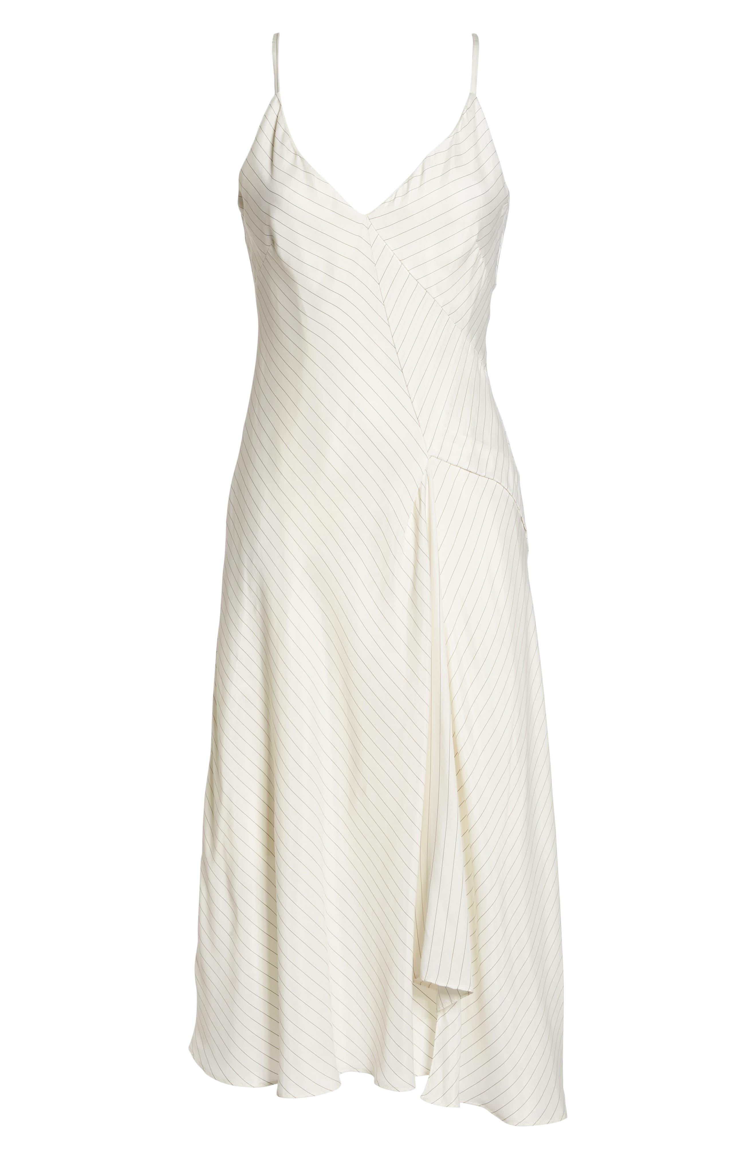 Bay Area Pinstripe Asymmetric Midi Dress,                             Alternate thumbnail 7, color,                             Cream