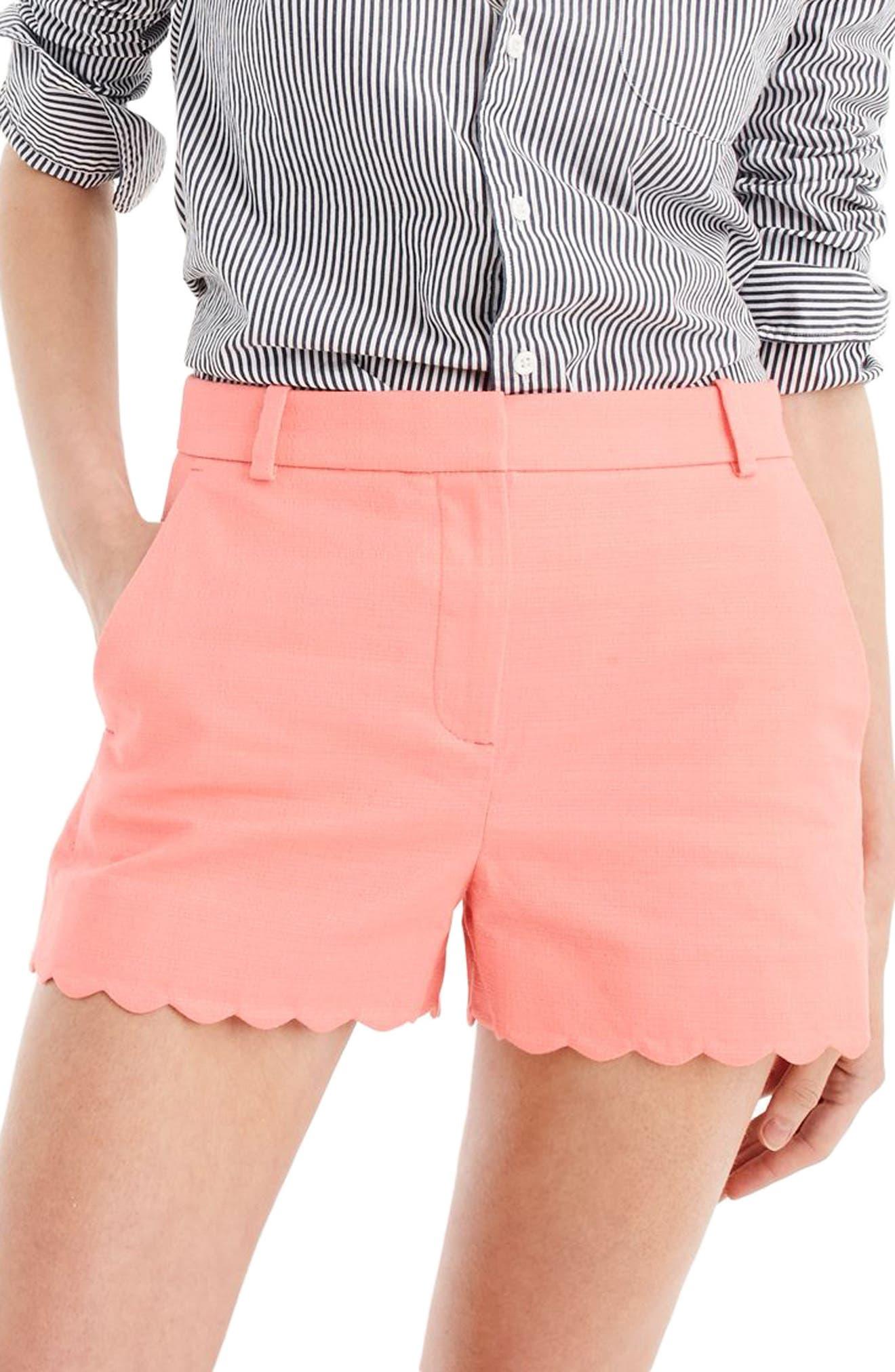 Fiesta Scallop Hem Stretch Cotton Shorts,                         Main,                         color, Coral Blossom