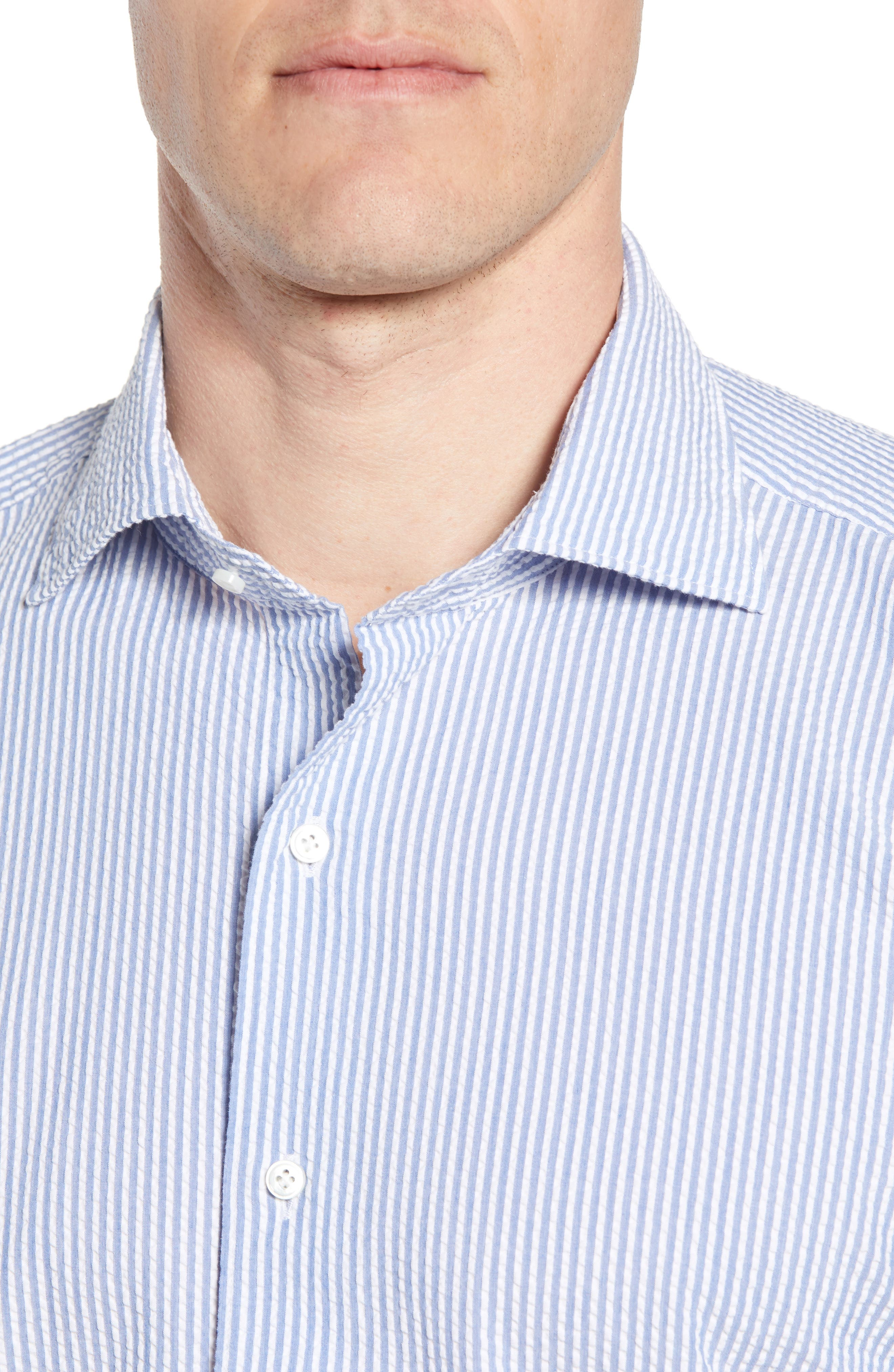 Summertime Stripe Seersucker Sport Shirt,                             Alternate thumbnail 4, color,                             Blue Ceillo