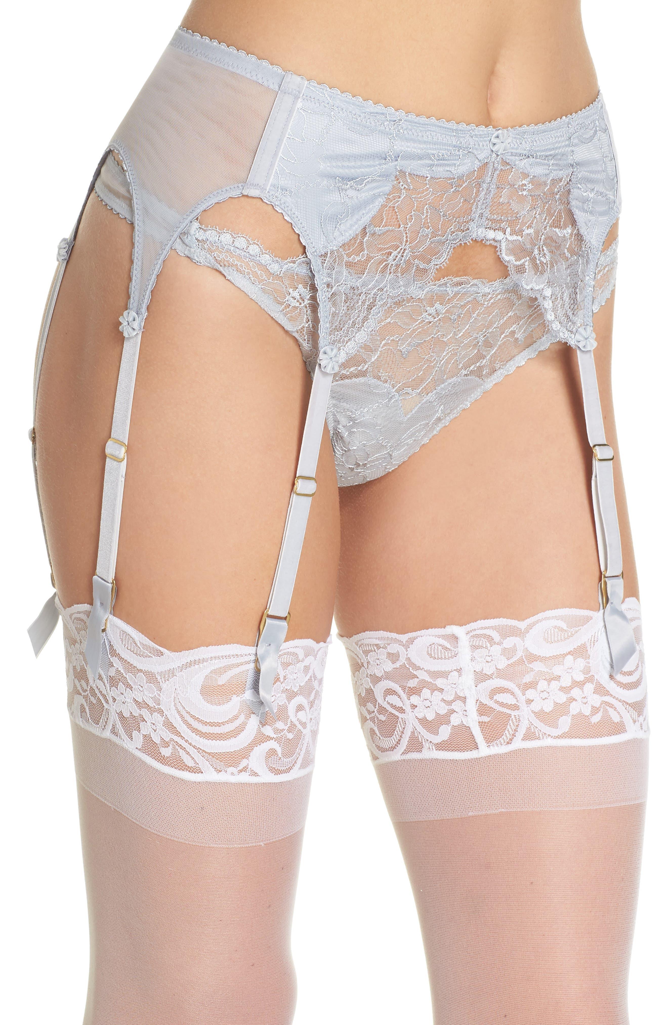 Tryst Garter Belt,                             Alternate thumbnail 3, color,                             Dove Grey
