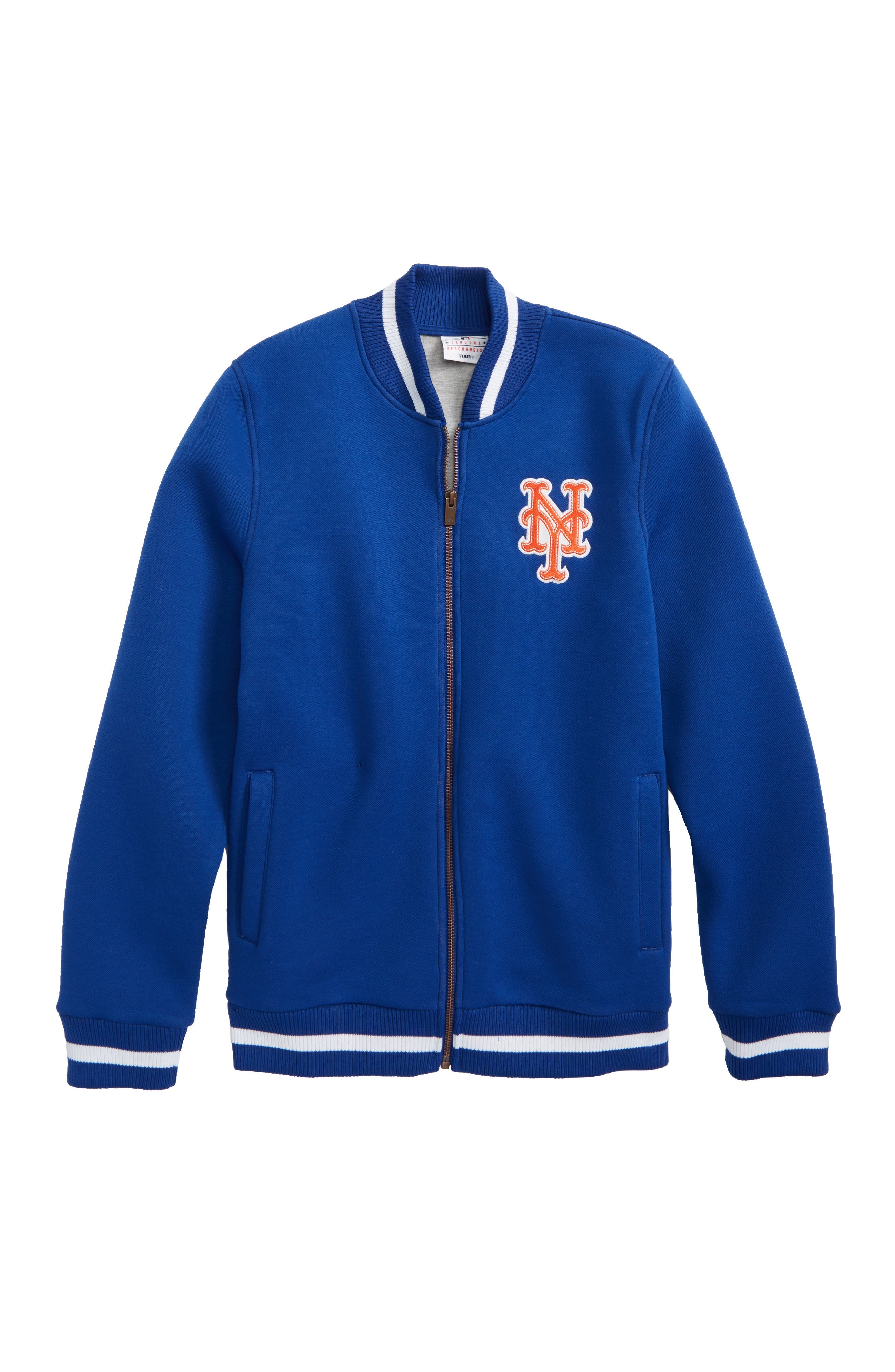 Main Image - Majestic MLB Classical New York Mets Knit Varsity Jacket