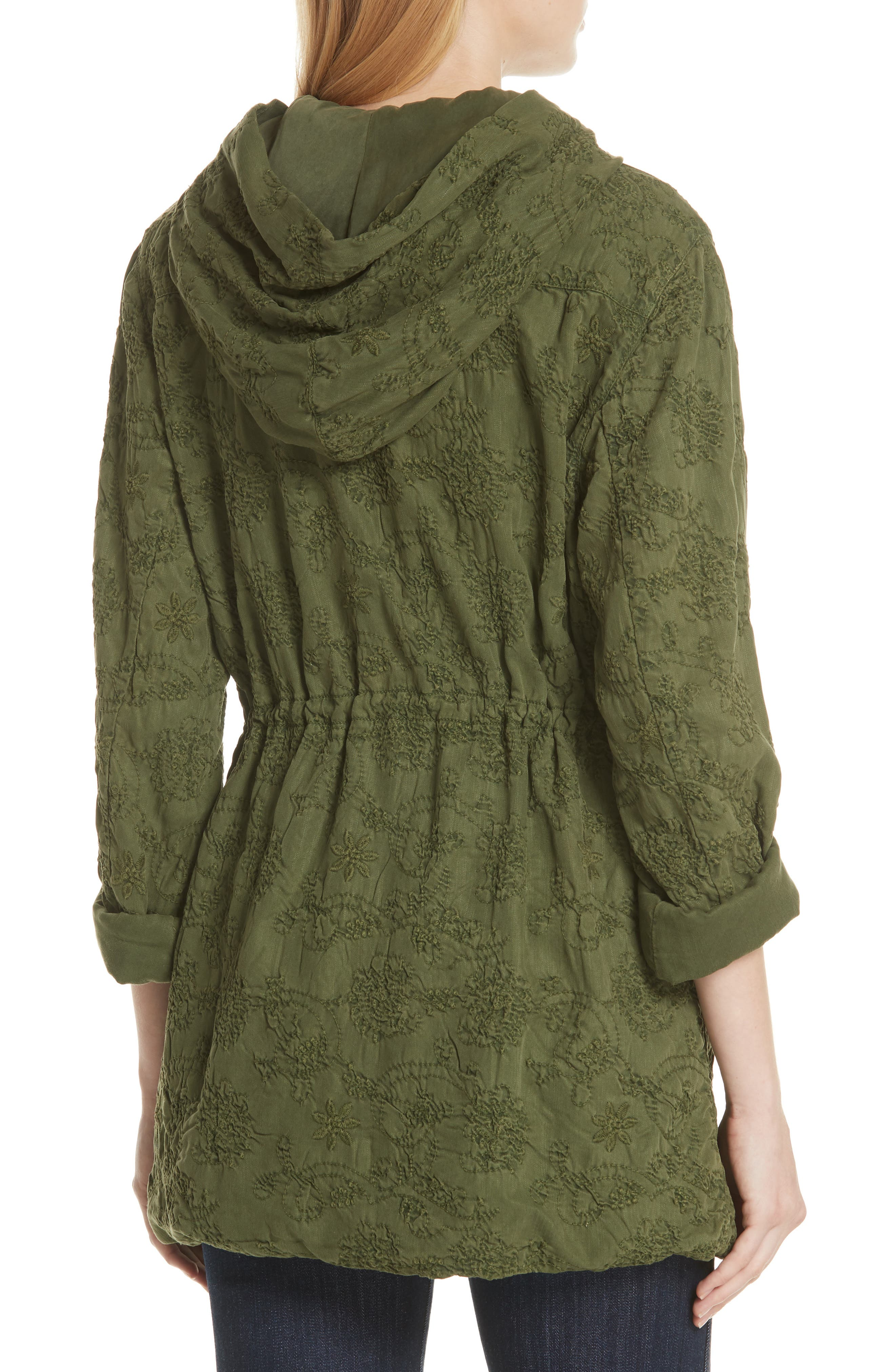 Marna Embroidered Hooded Parka,                             Alternate thumbnail 2, color,                             Olive