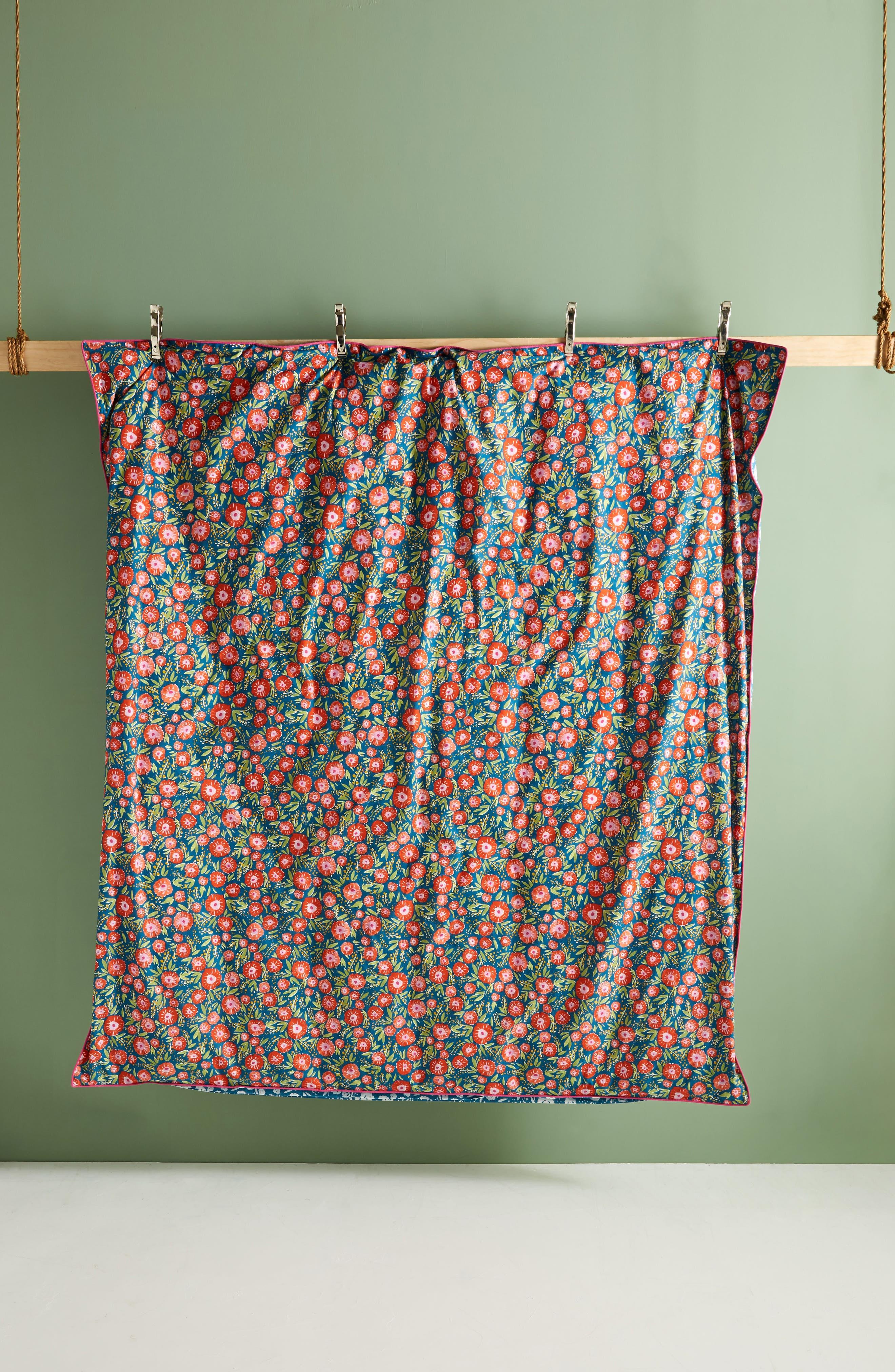 Painted Poppies Duvet Cover,                             Alternate thumbnail 3, color,                             Blue