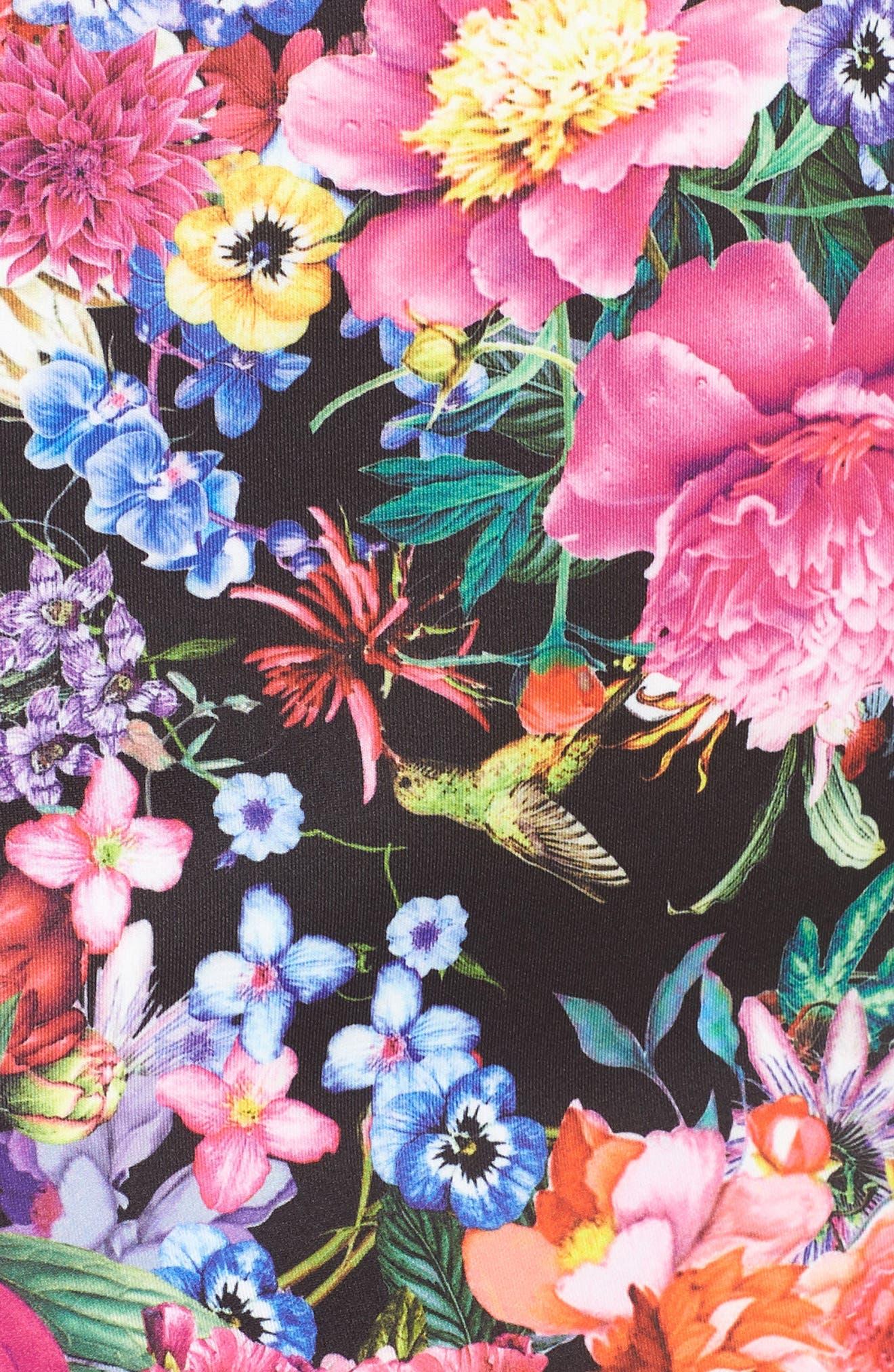 Floral & Lace Sheath Dress,                             Alternate thumbnail 5, color,                             Black/ Floral