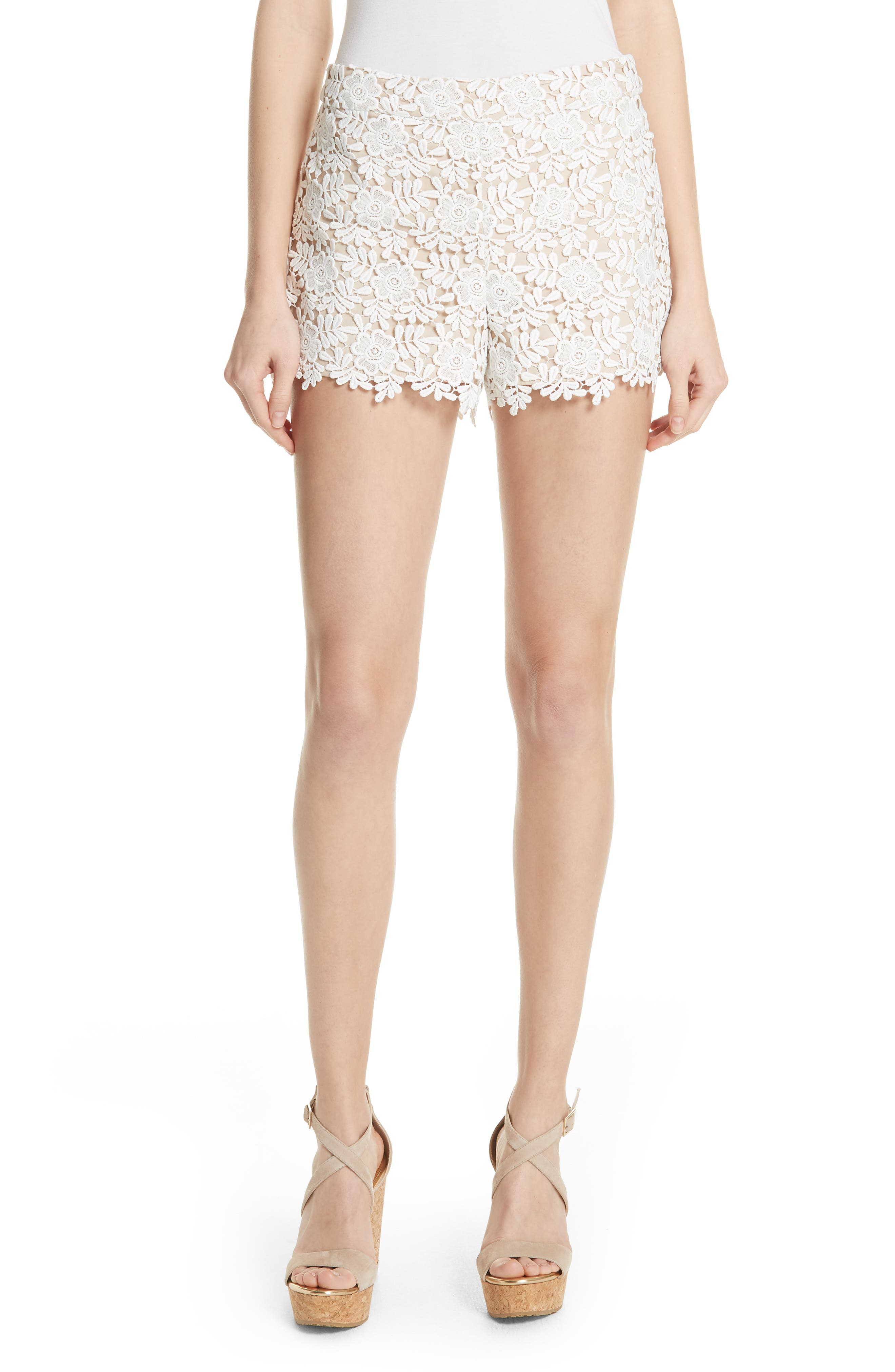 Marisa Floral Lace Shorts,                             Main thumbnail 1, color,                             Off White/ Sesame